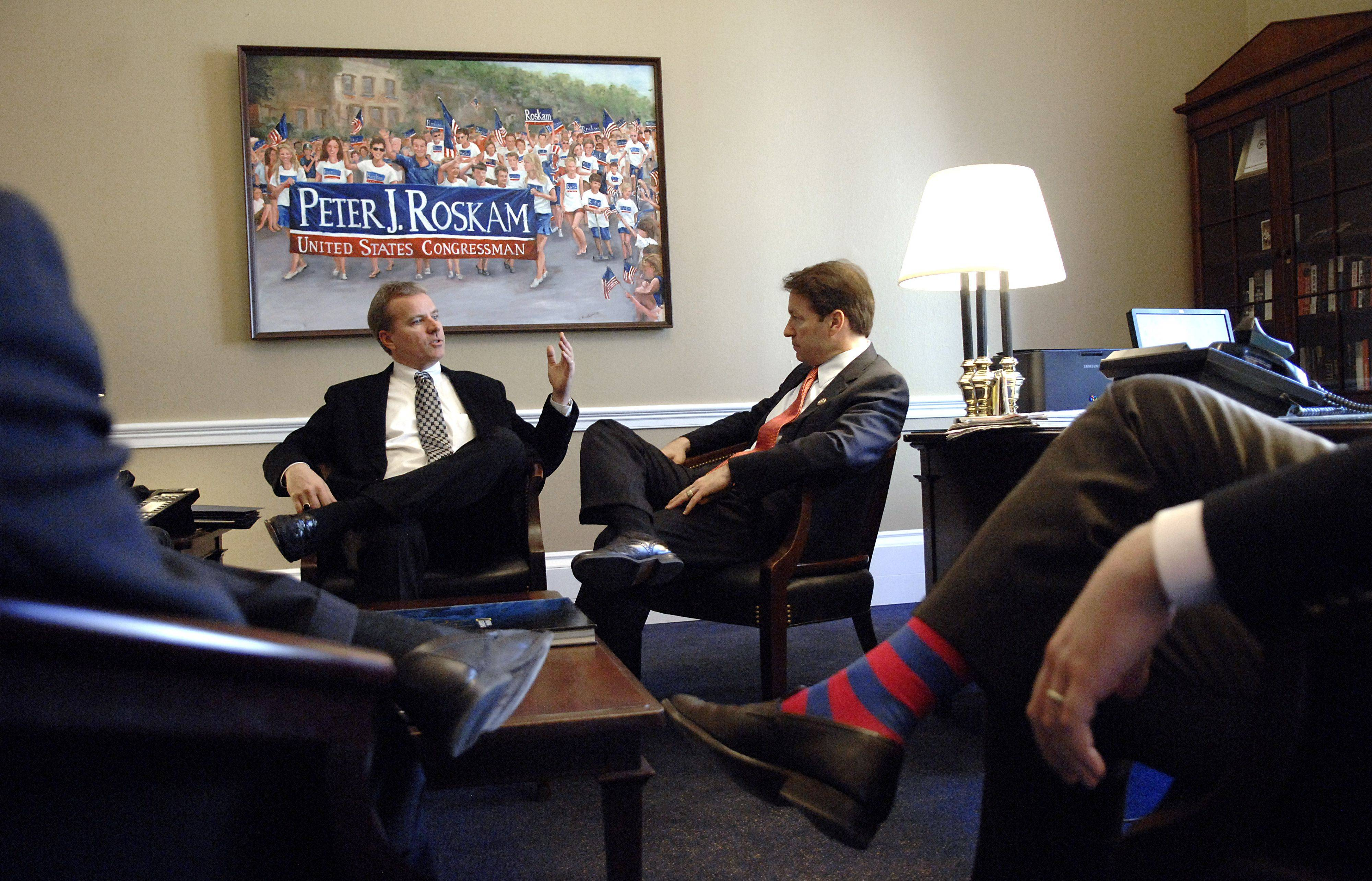 Pete Legan, an IBM vice president of communications, left, meets with Rep. Peter Roskam in his D.C. office earlier this month.