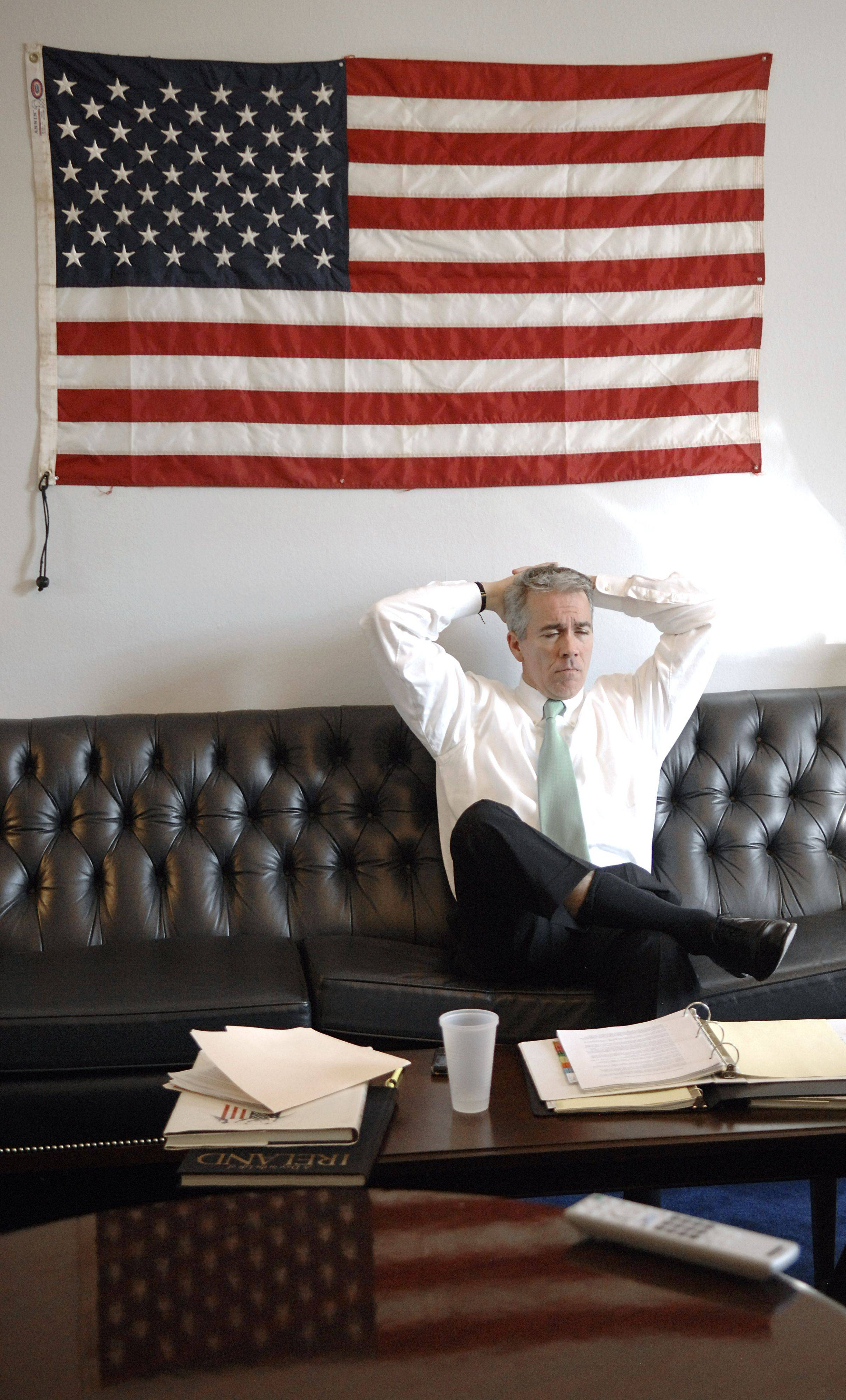 Illinois congressman Joe Walsh listens to briefs before attending a meeting with the Committee on Homeland Security on Wednesday, March 2 in Washington D.C.