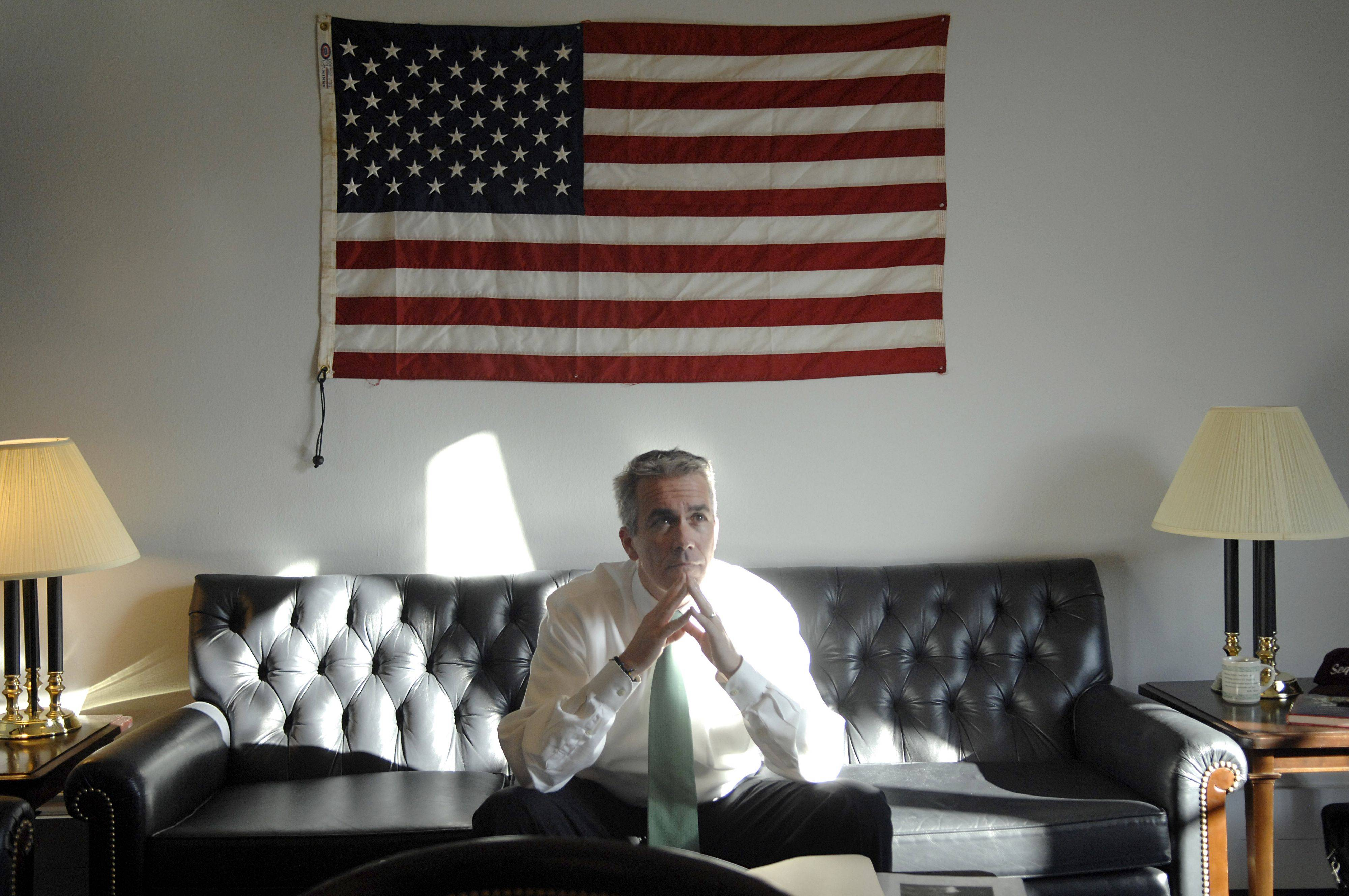 Congressman Joe Walsh in his Washington, D.C., office, where a flag given to him by a Vietnam veteran hangs on the wall.