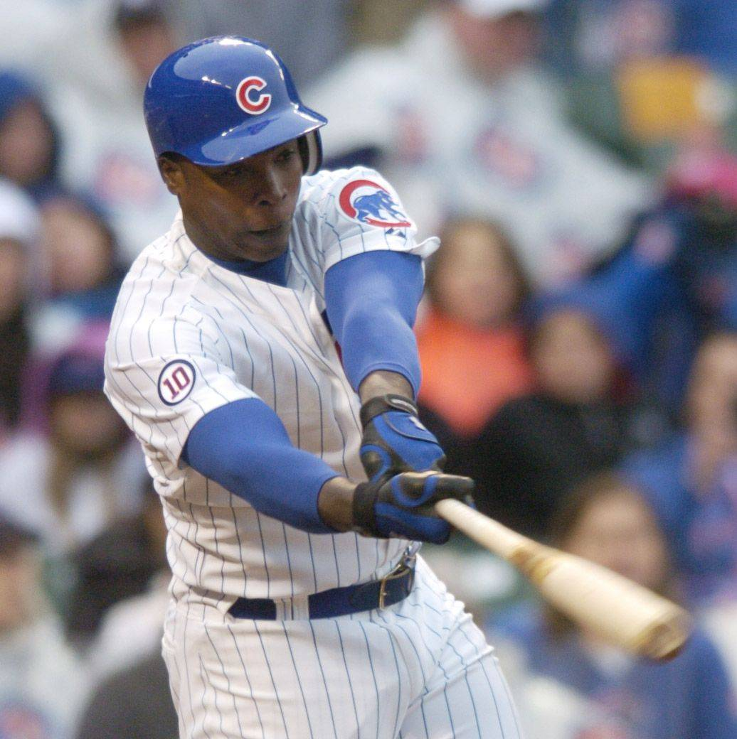Alfonso Soriano of the Cubs strikes out in the eighth inning.