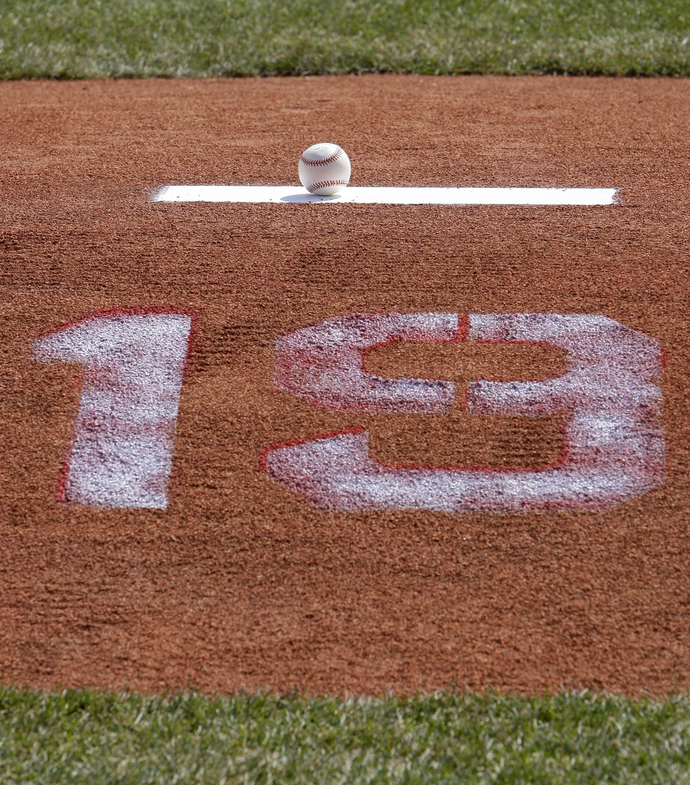 A baseball placed by Anne Feller, wife of the late Cleveland Indians player Bob Feller, rests on the mound before the Indians play the Chicago White Sox in an opening day baseball game on Friday, April 1, 2011, in Cleveland.