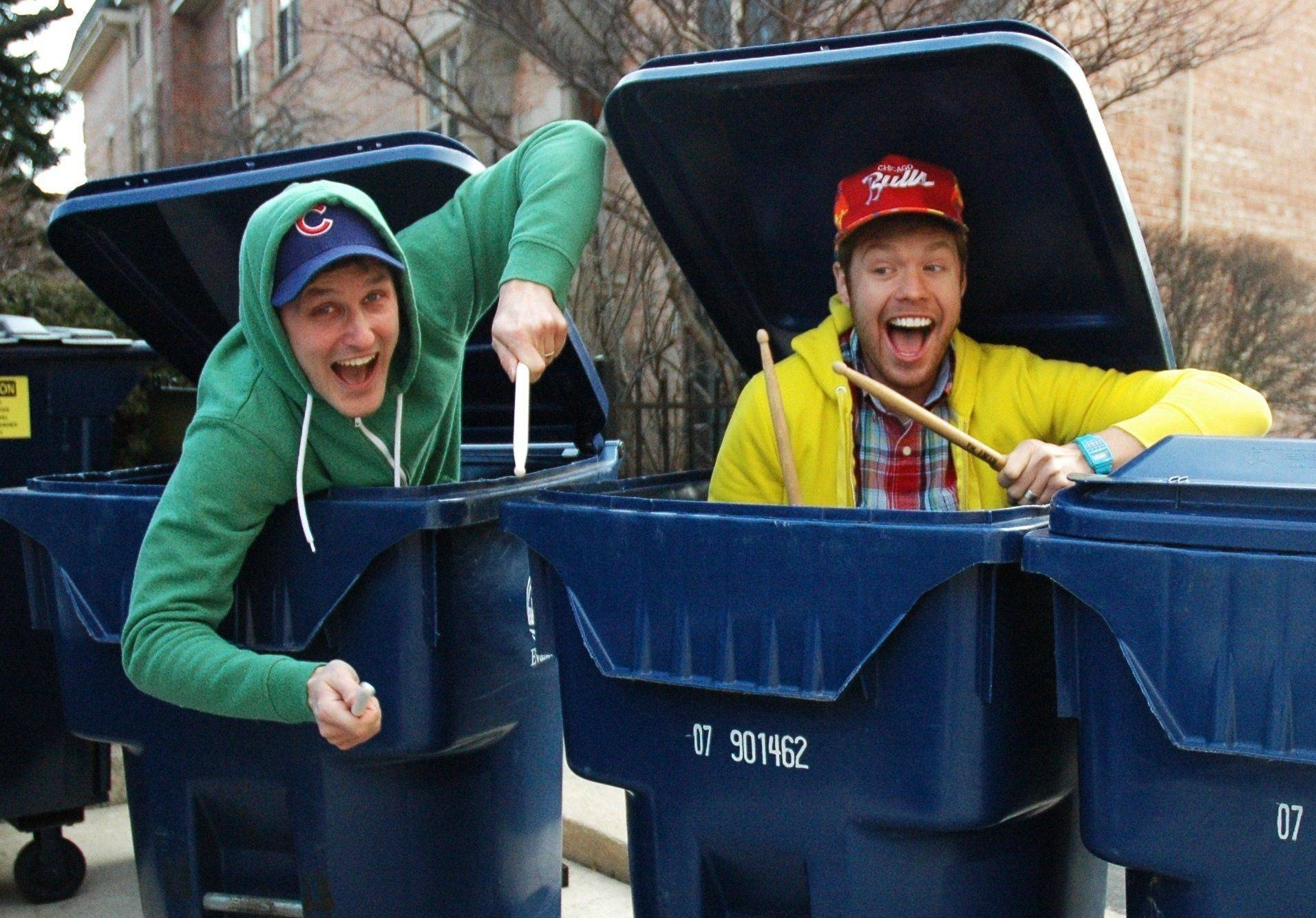"Performance artists Jarrett Dapier and Dan Tafelski will ""beat the Reduce, Reuse, Recycle drum"" at Westgate School on Wednesday, April 13."