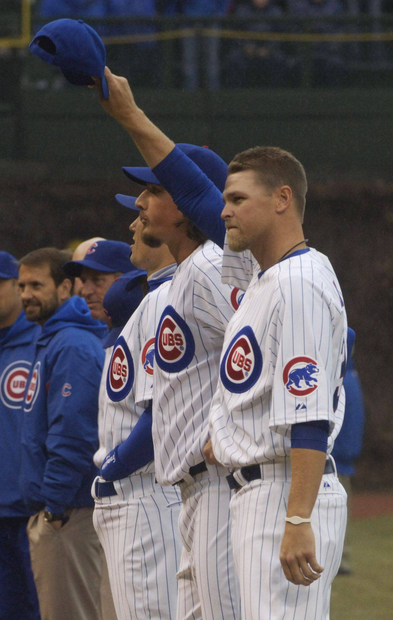 Cubs pitcher Kerry Wood acknowledges the fans on Opening Day at Wrigley Field Friday.
