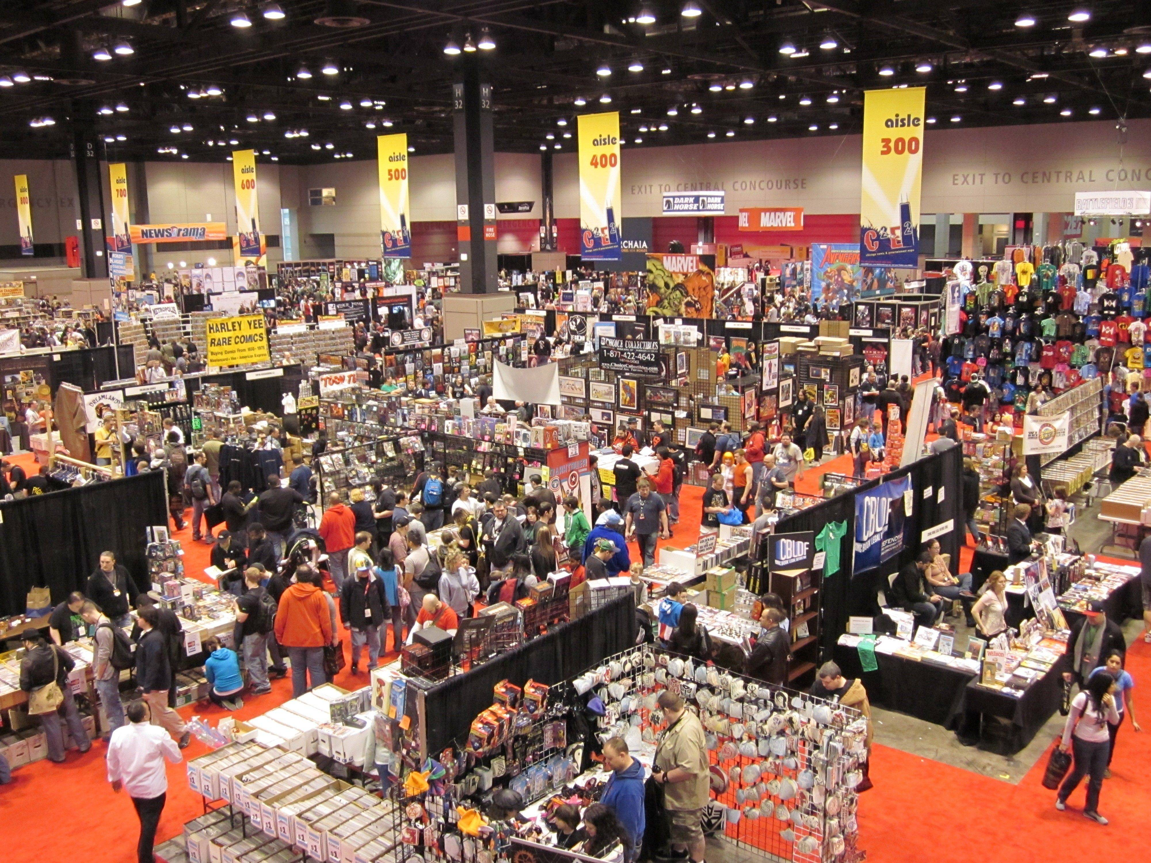 The floor of the C2E2 convention in Chicago featured comic books, toys and costumed fans.