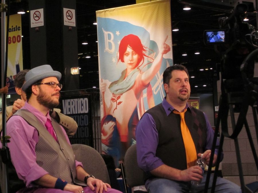 Streamwood's Art Baltazar and his partner, Franco Aureliani, prepare for an interview by Newsarama at C2E2. Even though Aureliani lives in New York, the two collaborate fine.