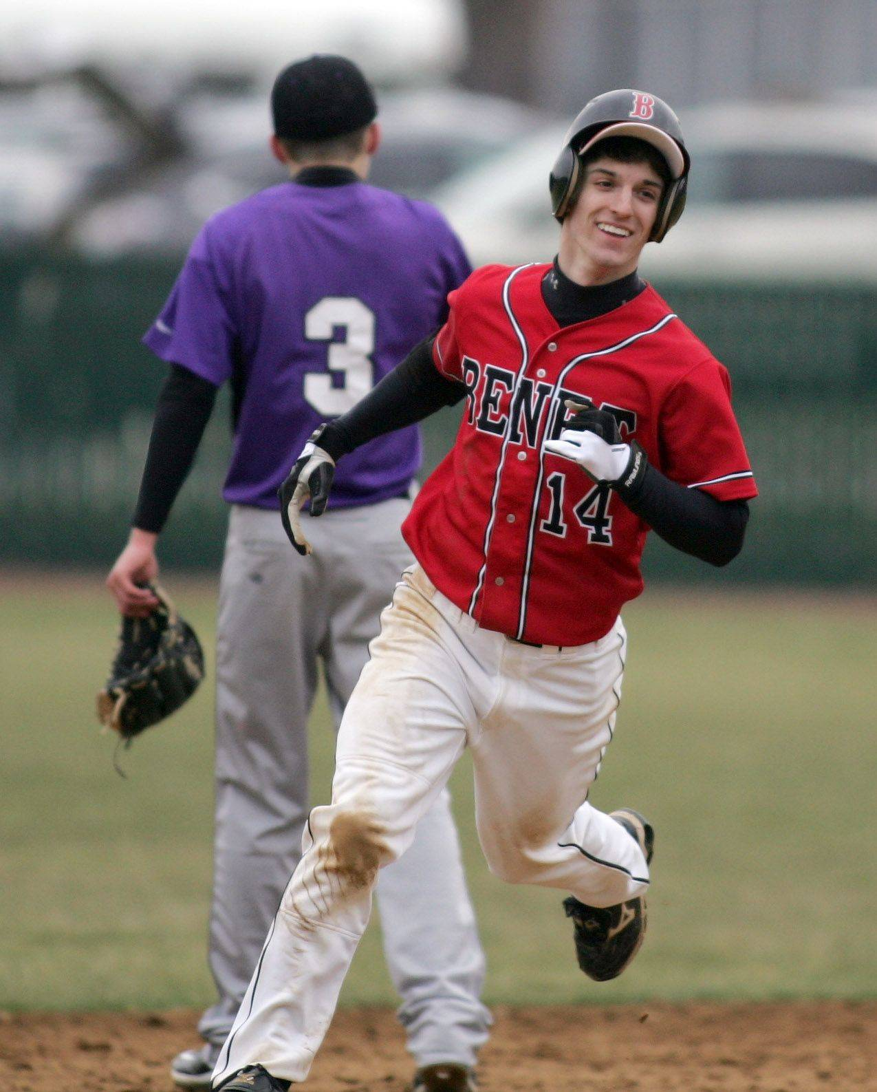 R. J. Gatto of Benet is all smiles rounding second base after his home run Tuesday.