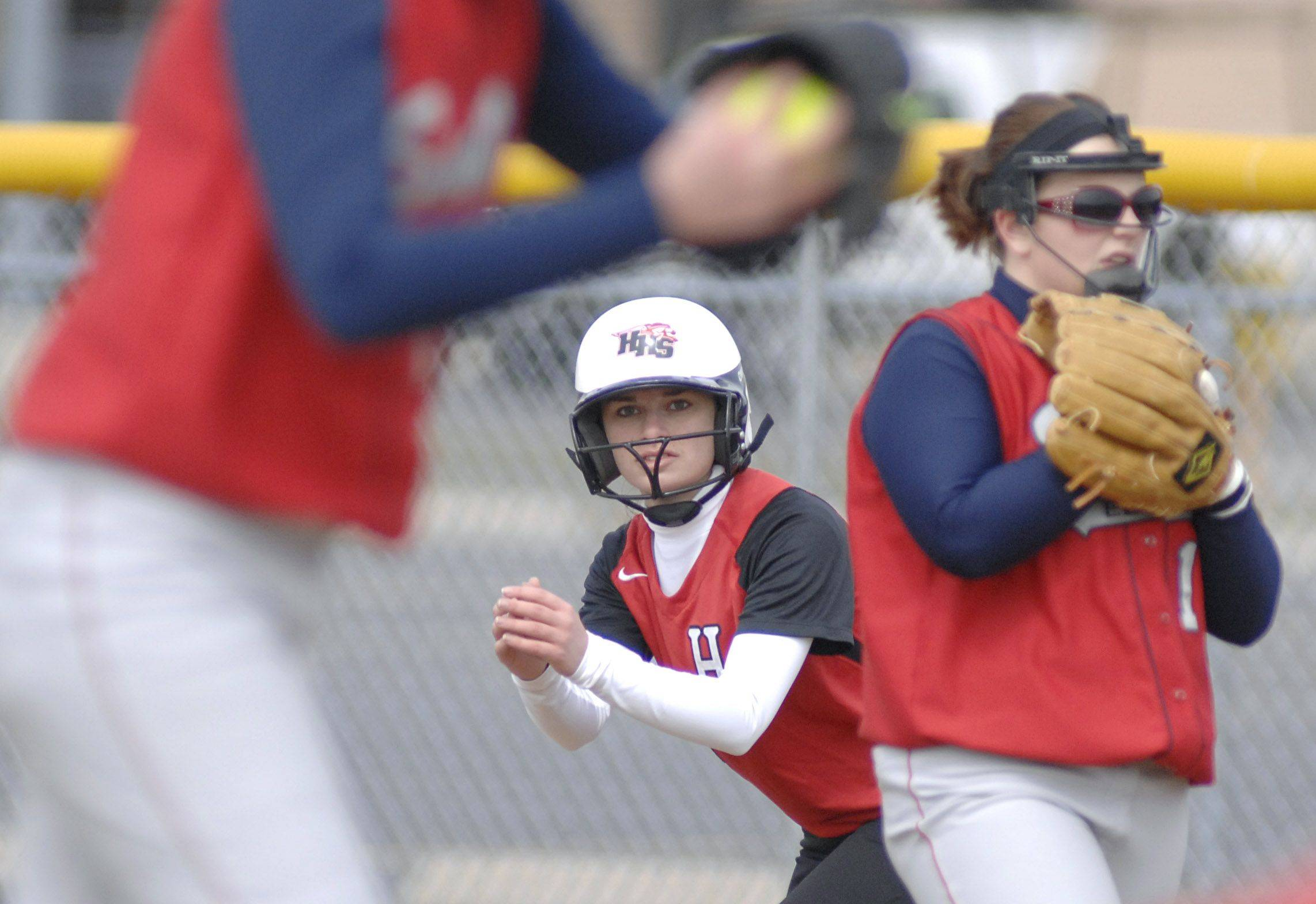 Huntley's Brittney Koss leads off first base against South Elgin Tuesday.