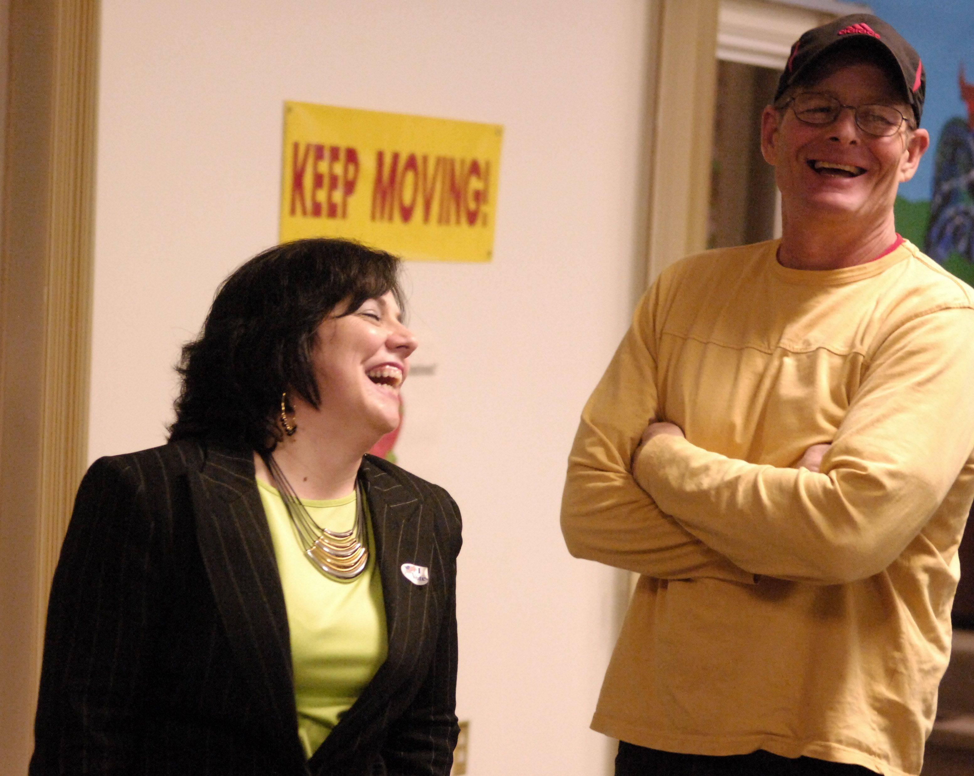 St. Charles 5th Ward candidate Kim Malay and husband Jim laugh about the final count showing her 2 votes down for the St. Charles city council race at Bridges Academy in St. Charles Tuesday.