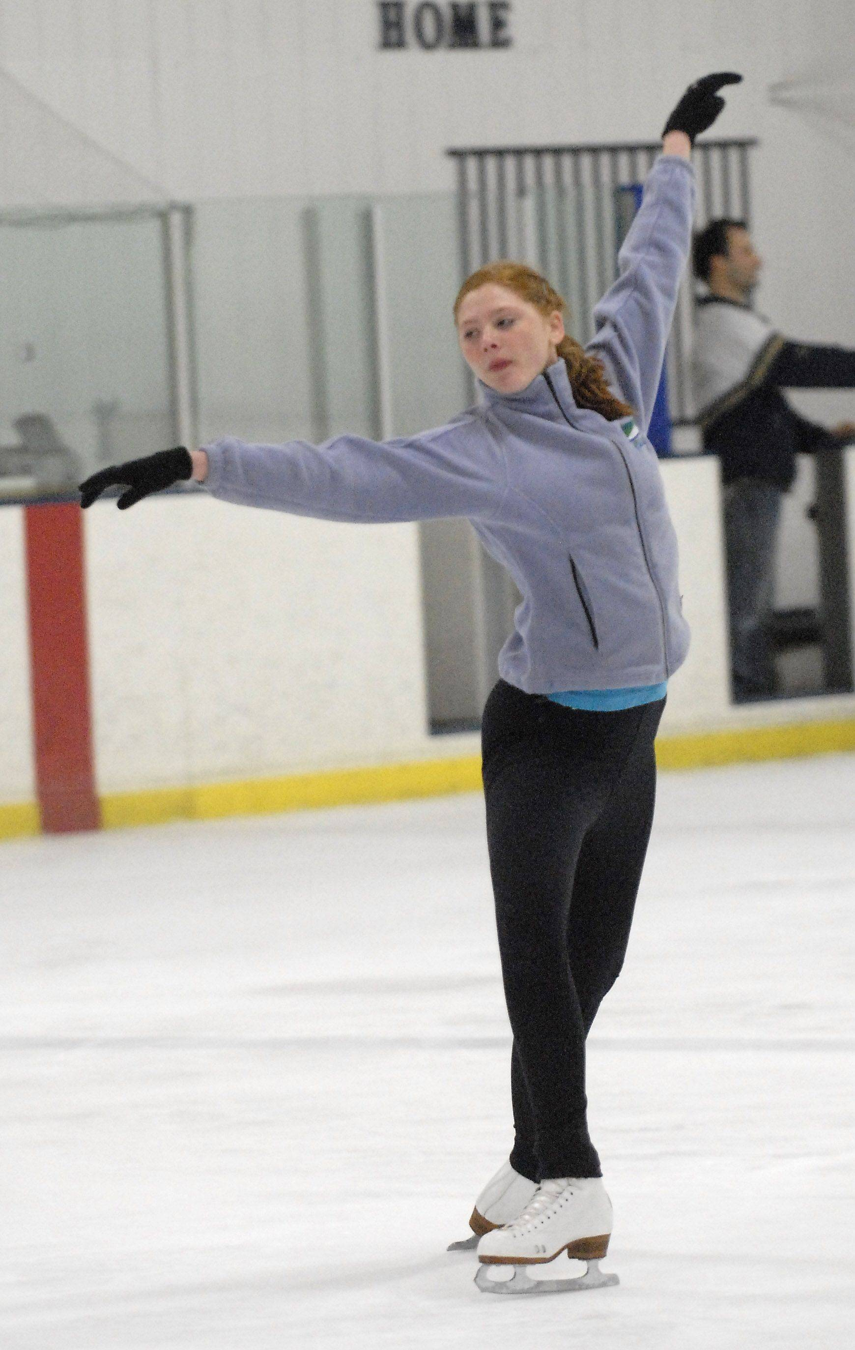 Anna-Britt Hall, 16, of Waukegan rehearses for Sunday's skating fundraiser.