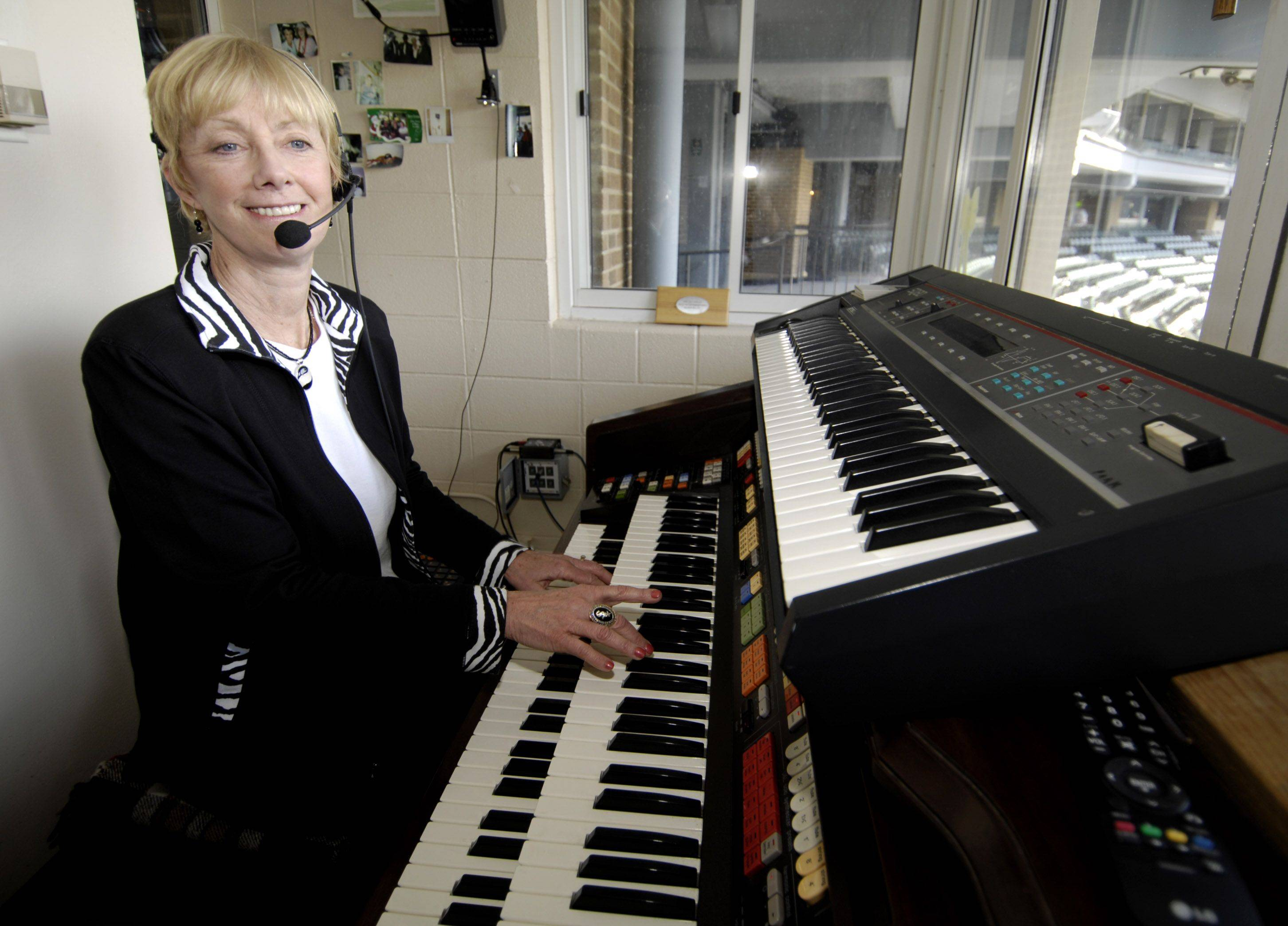At last season's home opener, Nancy Faust of Mundelein was at home as the organist for the Chicago White Sox. Today, for the first time in 42 years, the retired Faust will watch the opener from her home in rural Mundelein.