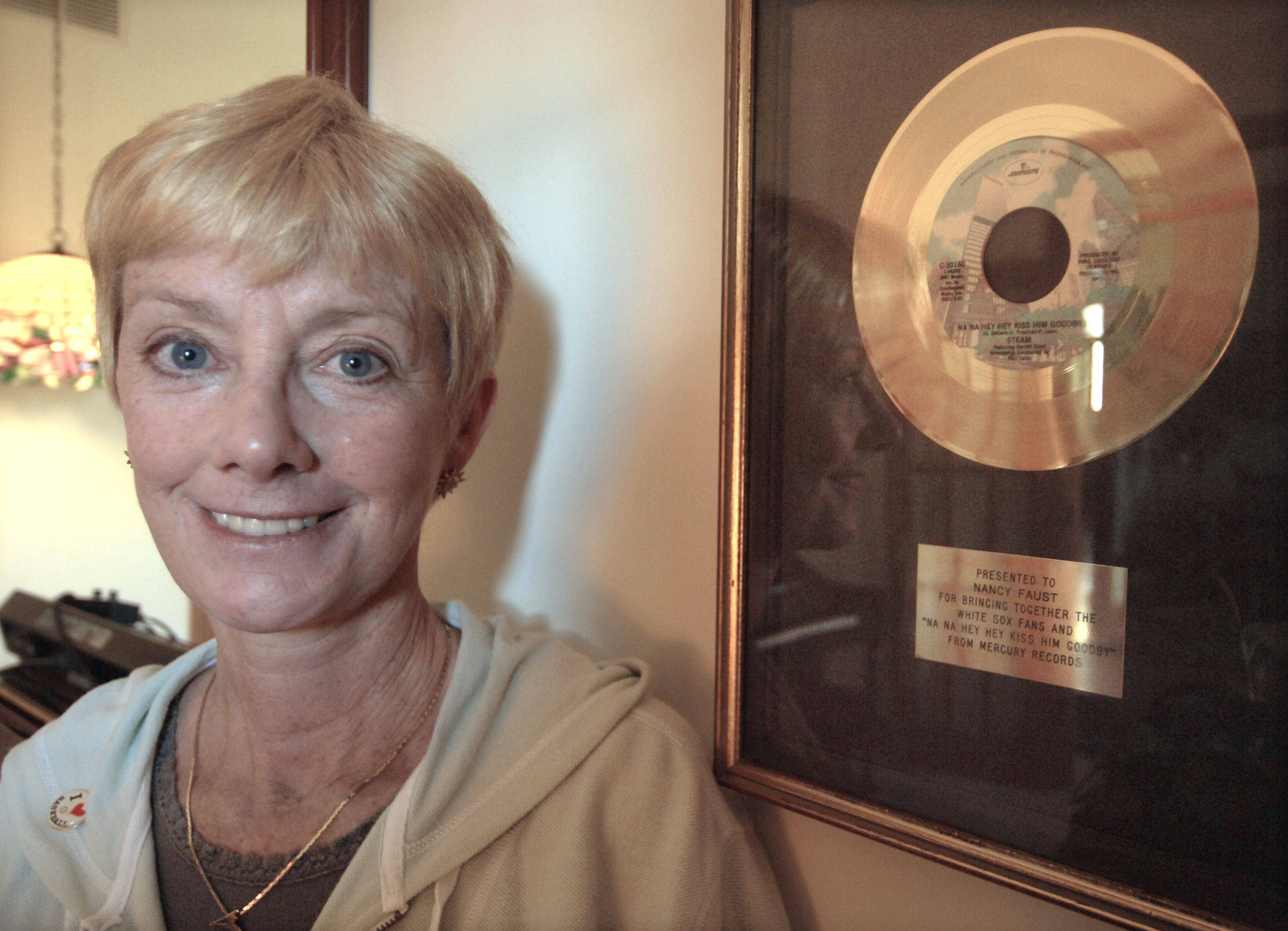 "The gold record hanging in her Mundelein home came after legendary White Sox organist Nancy Faust created a new market for Steam's ""Na Na Hey Hey (Kiss Him Goodbye)."" She first played that song at old Comiskey Park in 1977, and now it's a staple at every ballgame."