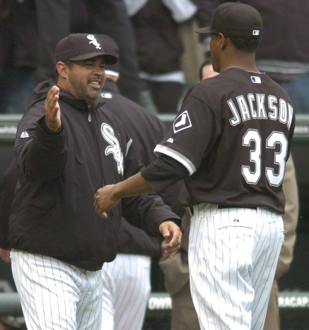 Sox manager Ozzie Guillen congratulates starting pitcher Edwin Jackson at the end of Thursday's home opener at U.S. Cellular Field. Jackson struck out a career-high 13 and improved to 5-2 in a White Sox uniform.