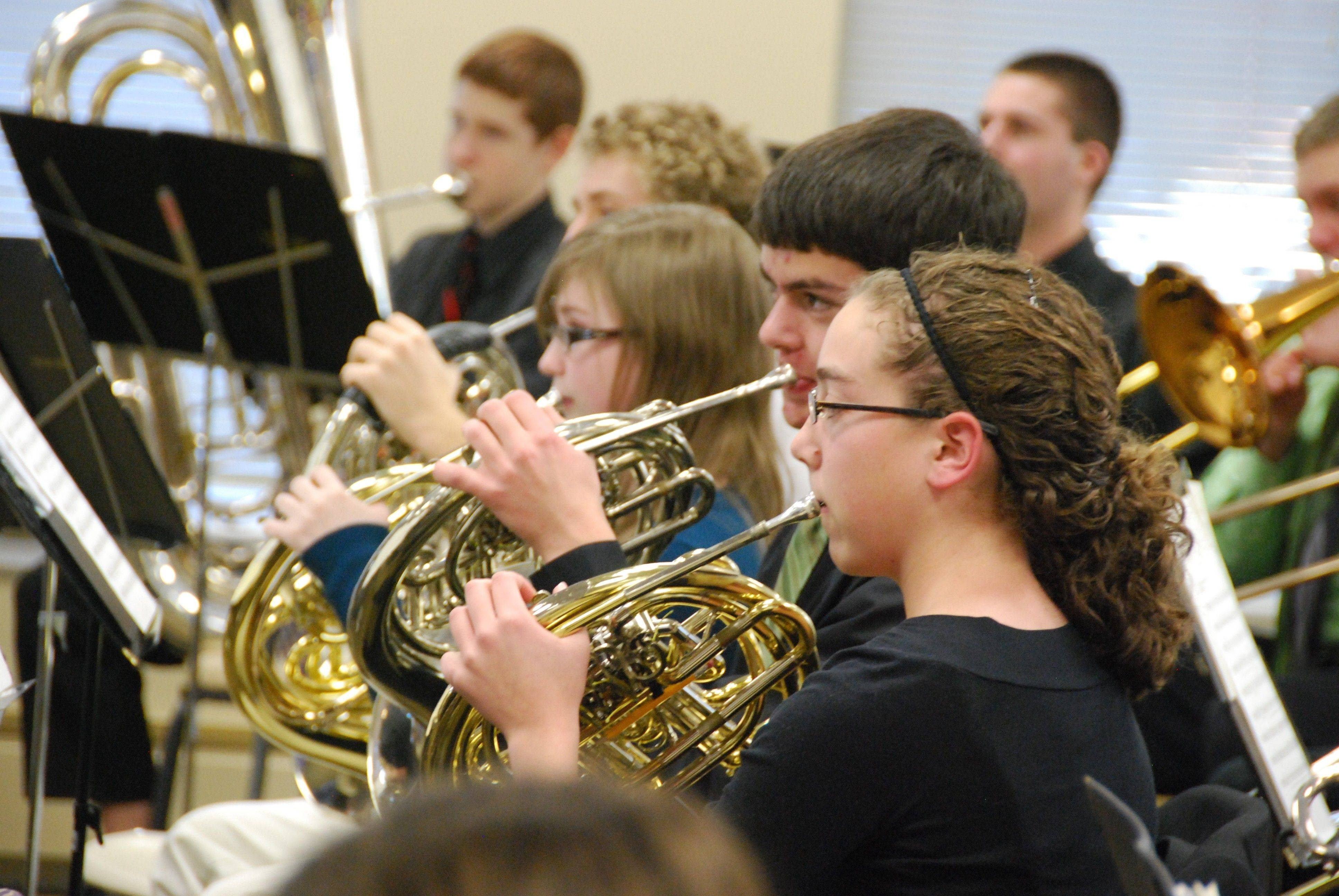 The Fremd High School band practices for the 2011 Chicagoland Concert Band Festival.