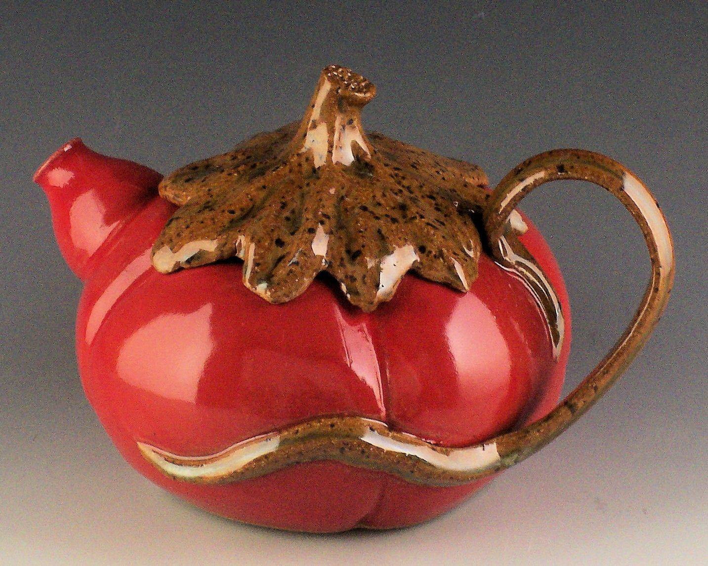 This tomato teapot is an example of one of the treasures visitors to the Indiana Artisan Marketplace might find.
