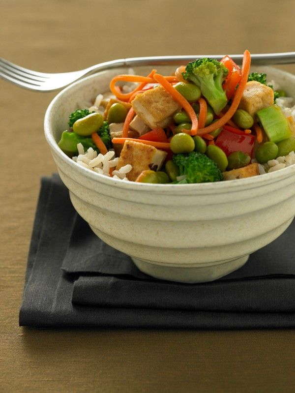 Three forms of soy -- edamame, tofu and oil -- come together in this healthful, one-pot meal.