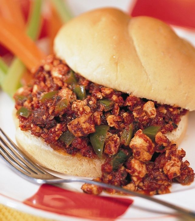 Soy crumbles stand in for meat in these saucy Sloppy Joes. A 50-50 mix of soy and ground meat can be used.
