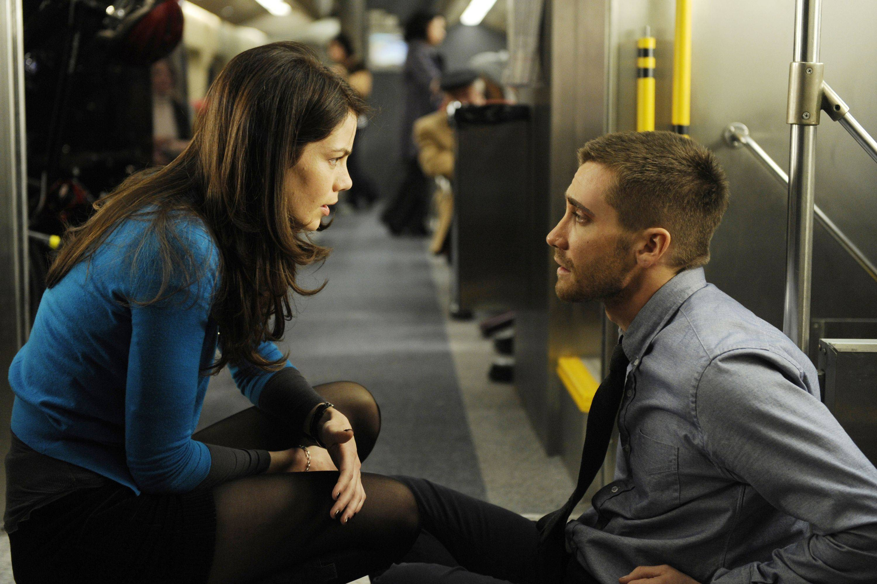 "Jake Gyllenhaal tries to find a hidden bomb in a thinly disguised Metra train in ""Source Code."""