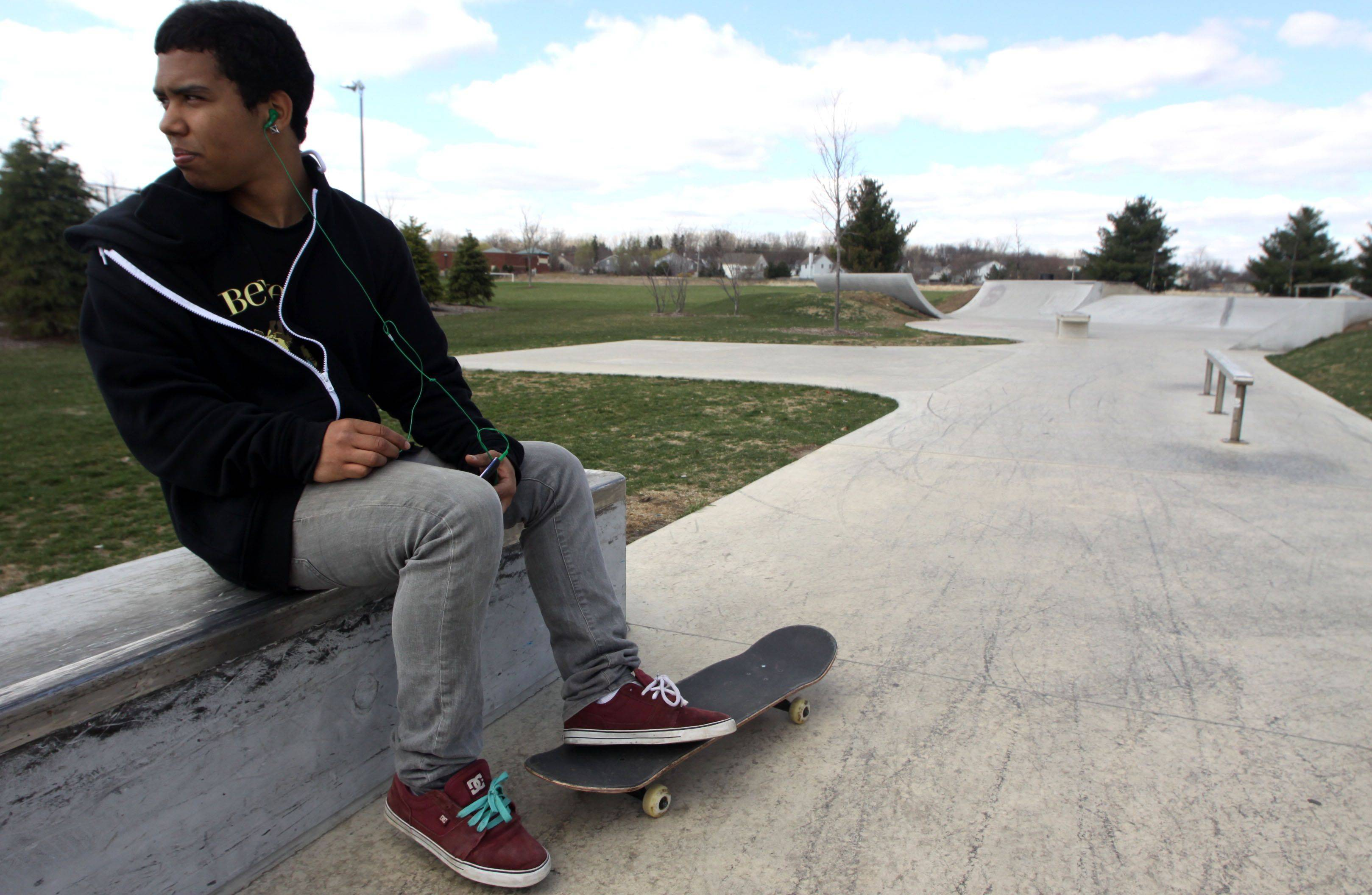 Ivan Arline, 17, of West Dundee speaks Monday afternoon about the possibility of cameras being installed at the skate area of West Dundee's Huffman Park in order to catch vandals.