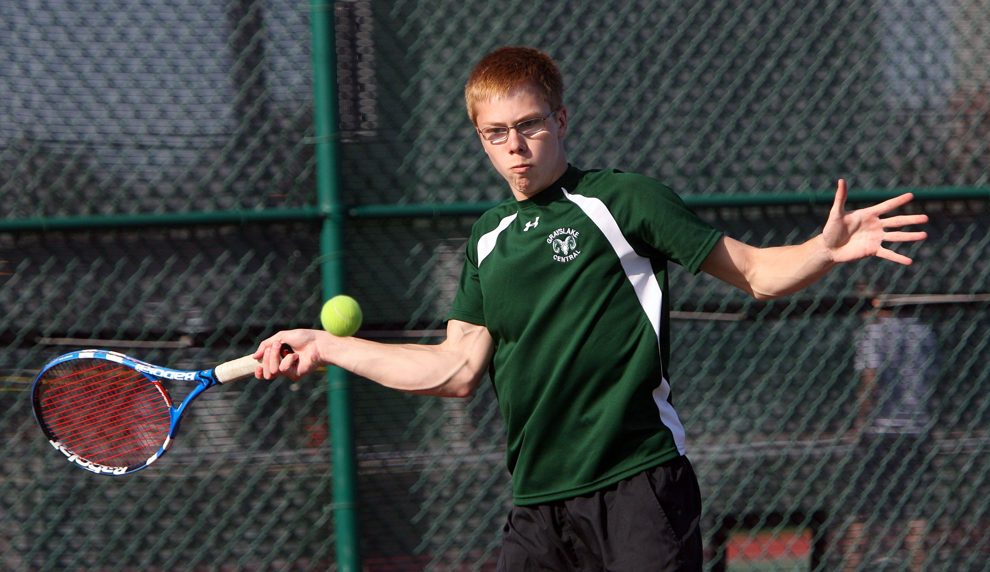 No. 2 singles player Steve Kveton hits a forehand during his match against Crystal Lake Central Tuesday at Grayslake Central High School.