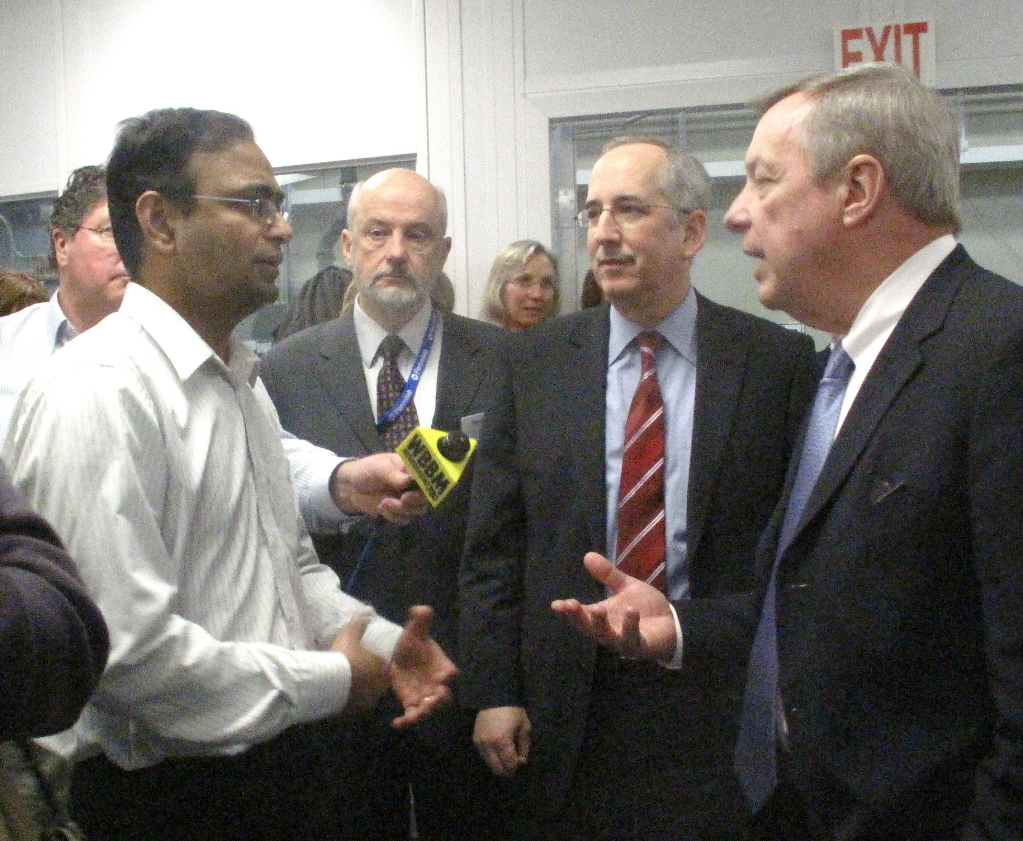 U.S. Sen. Dick Durbin, right, speaks with Penn State University faculty member Venkat Gopalan during a February visit to Argonne National Laboratory.