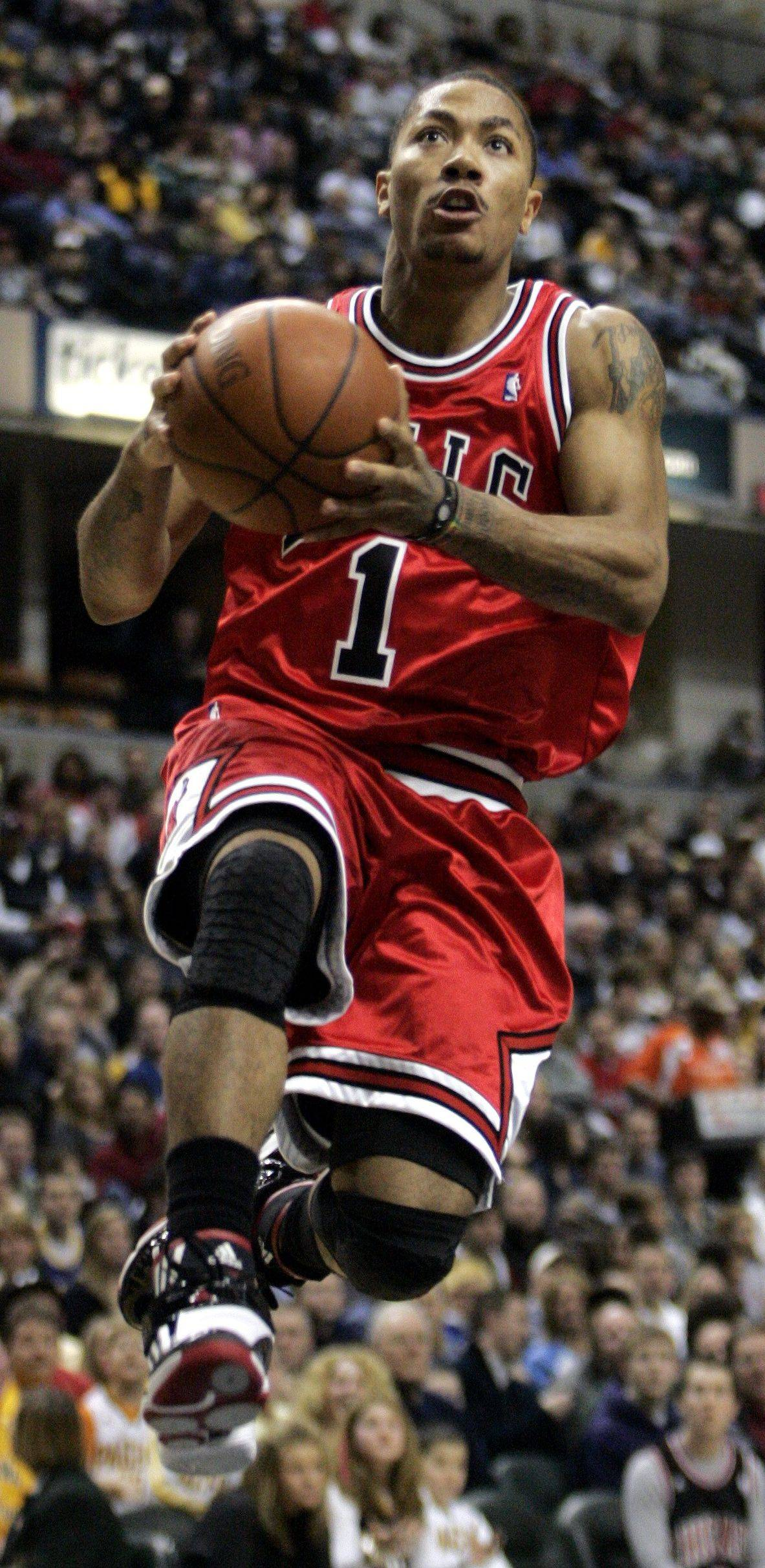 Chicago Bulls' Derrick Rose drives toward the basket during the first half of an NBA basketball game against the Indiana Pacers in Indianapolis, Saturday, Feb. 27, 2010. Rose scored 27 points but Indiana won 100-90.