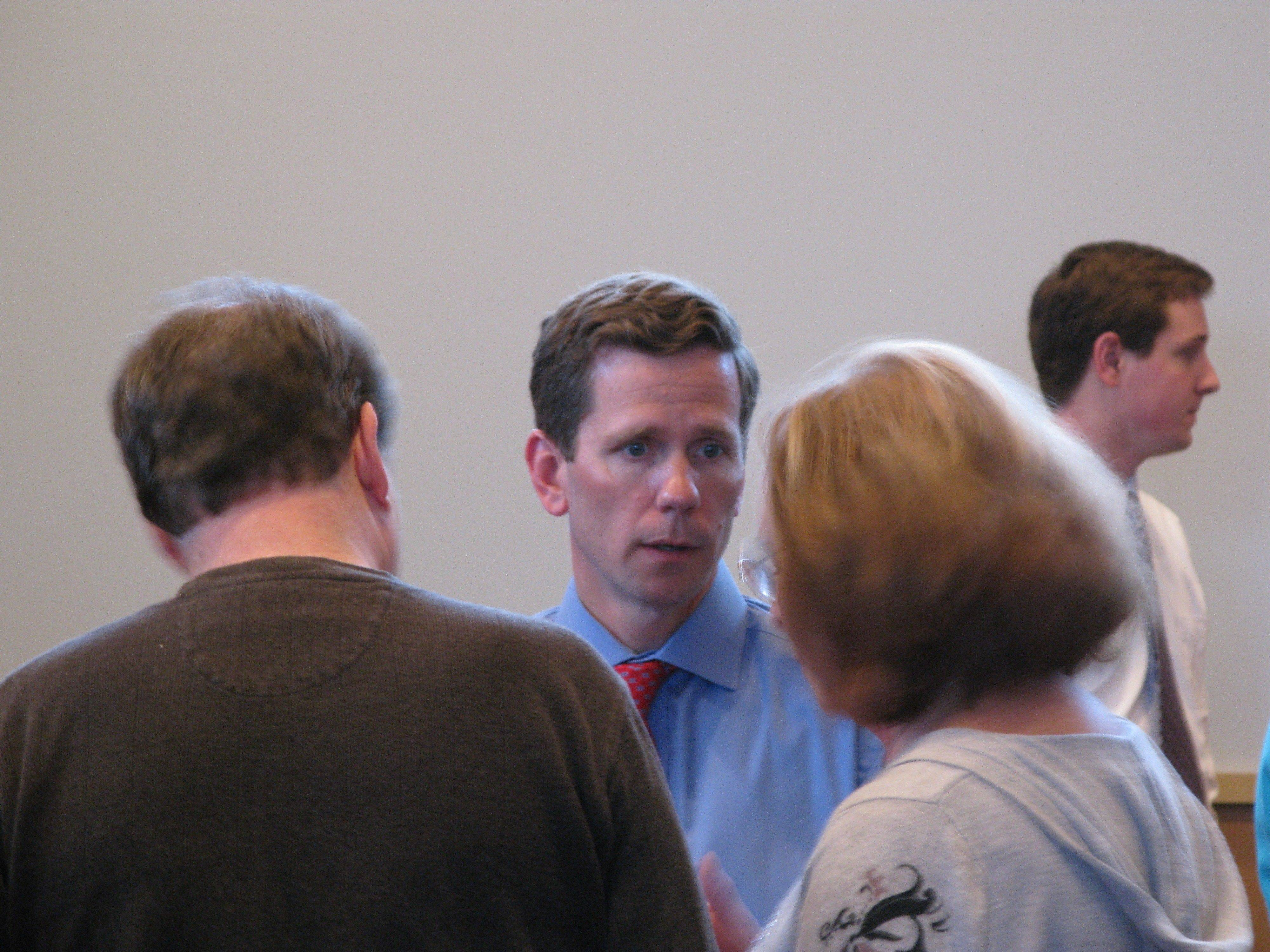 About 45 people attended a town hall meeting Saturday, hosted by Congressman Robert Dold at the Buffalo Grove village hall.