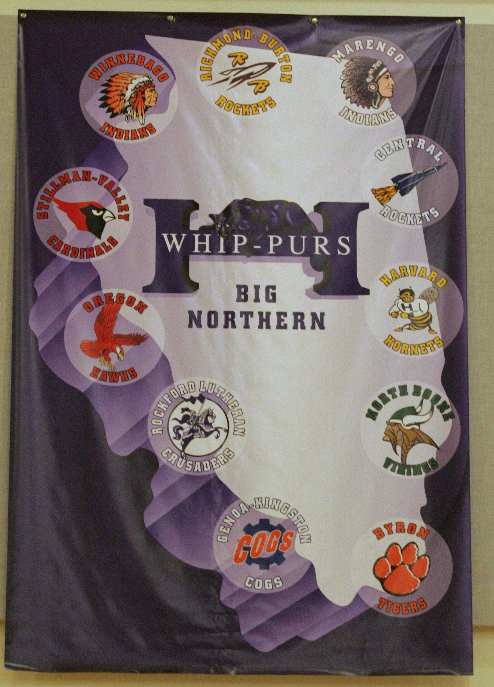 The banner at Hampshire High School bearing the school's Big Northern Conference membership, will change in the 2011-2012 school year when the Whip-Purs move to the Fox Valley Conference.