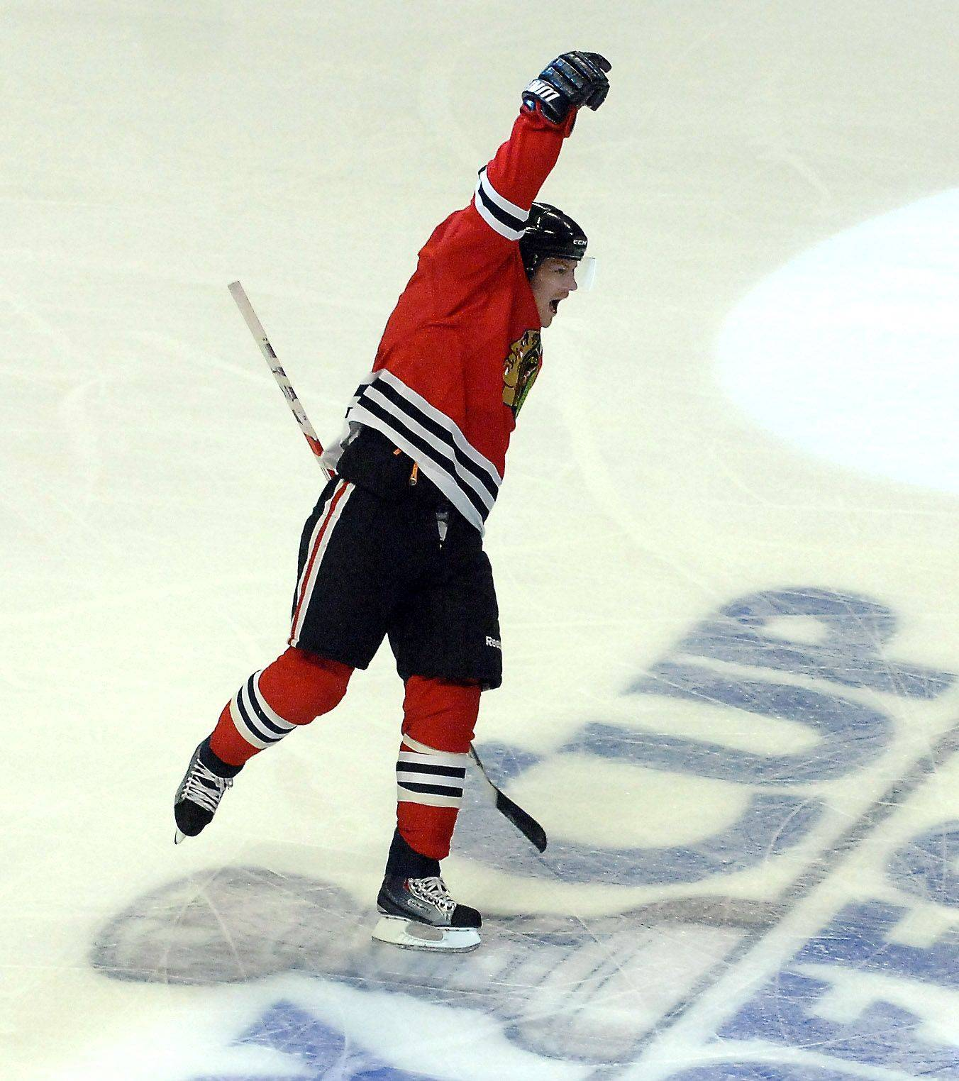 Chicago Blackhawks defenseman Duncan Keith celebrates his first period goal during Game 3 of the NHL Western Conference Quarterfinals Sunday at the United Center in Chicago.