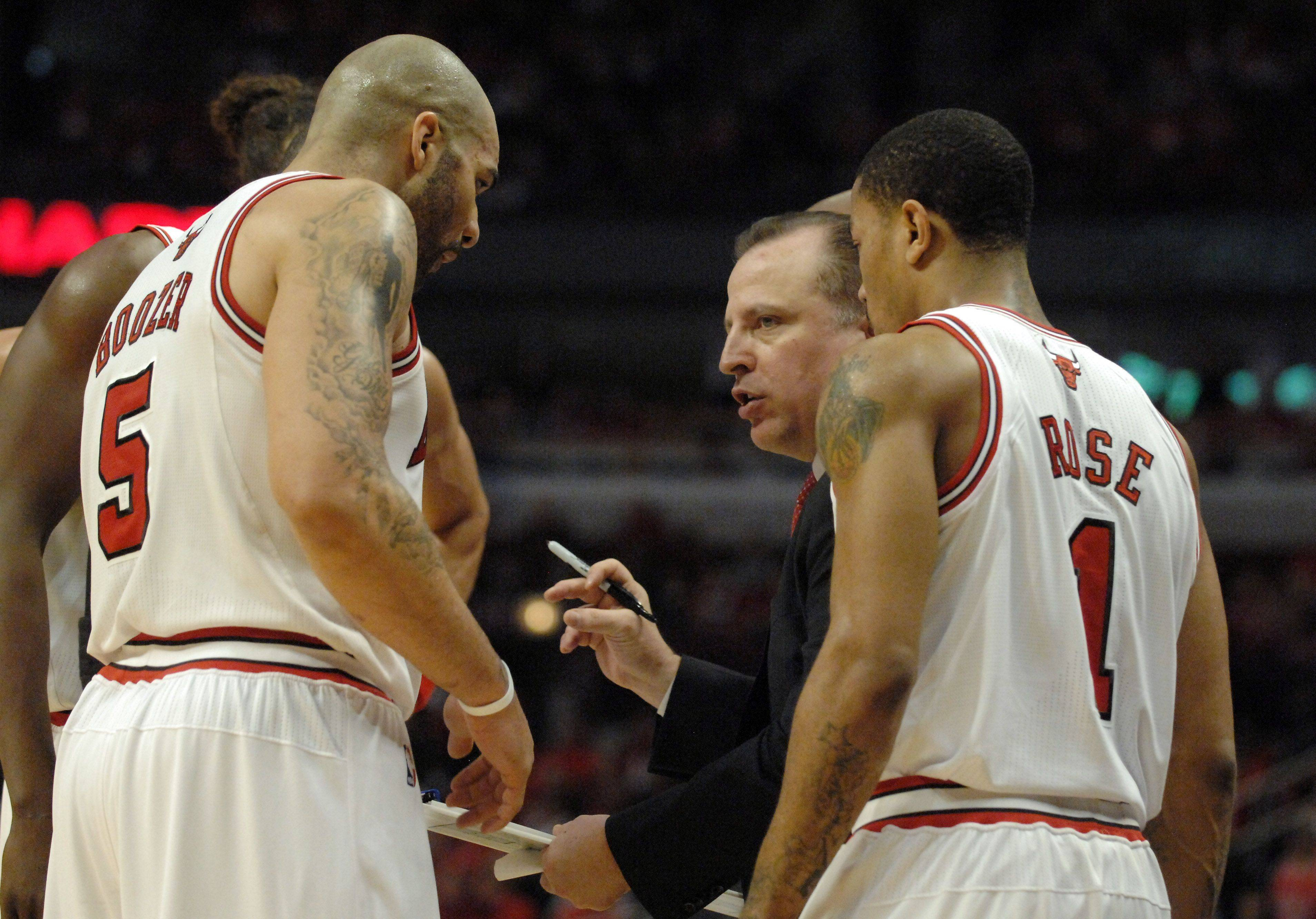 Chicago Bulls head coach Tom Thibodeau goes over a play with his team during Game One of the NBA Eastern Conference Quarterfinals Saturday at the United Center in Chicago.