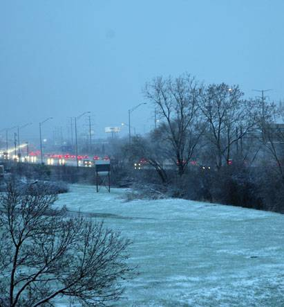 Traffic crawls along the Jane Addams expressway in Arlington Heights this morning.
