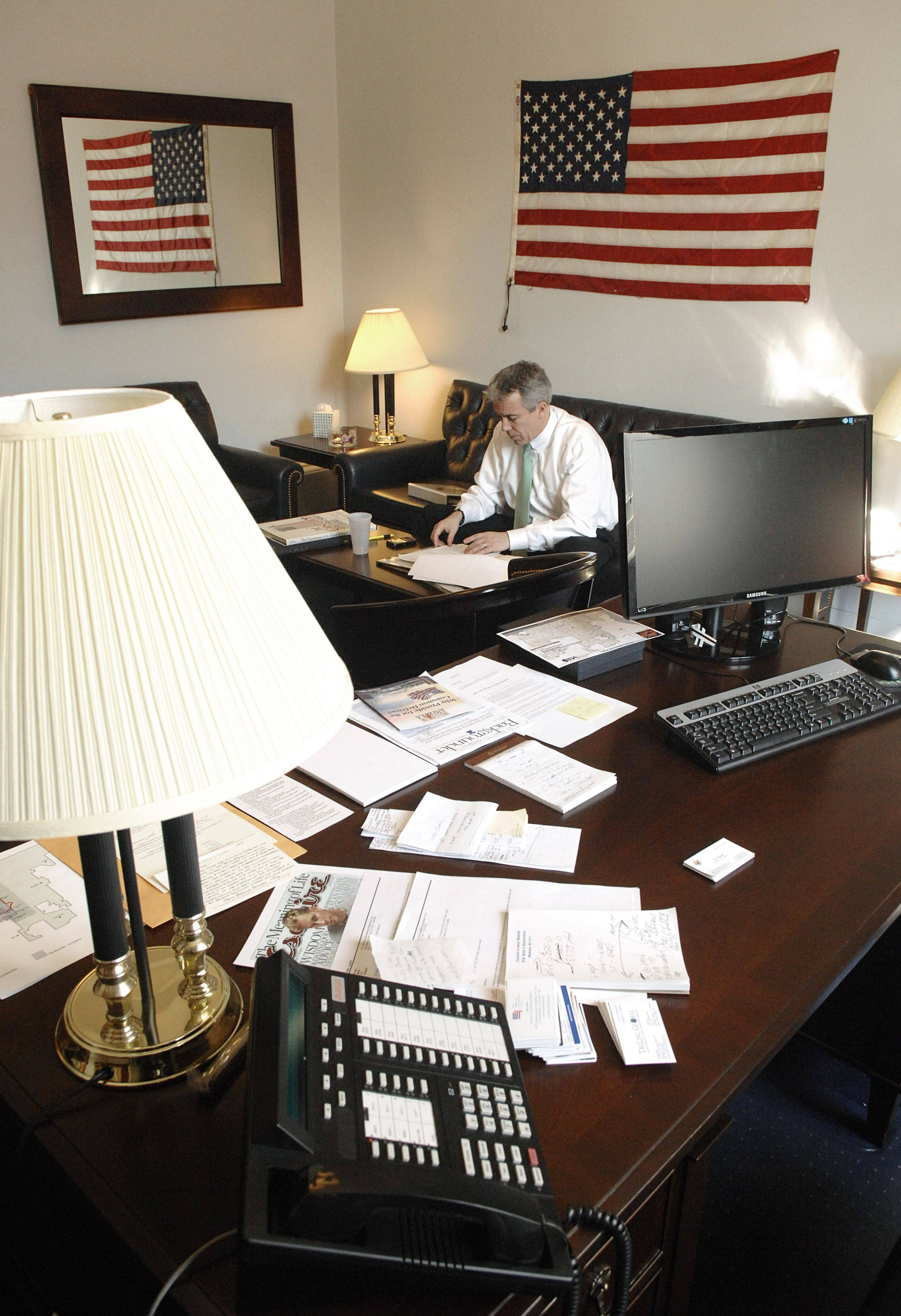 Illinois Congressman Joe Walsh's office in the Cannon House building in Washington, D.C. has a feel of organized chaos, with papers all over but neatly stacked.
