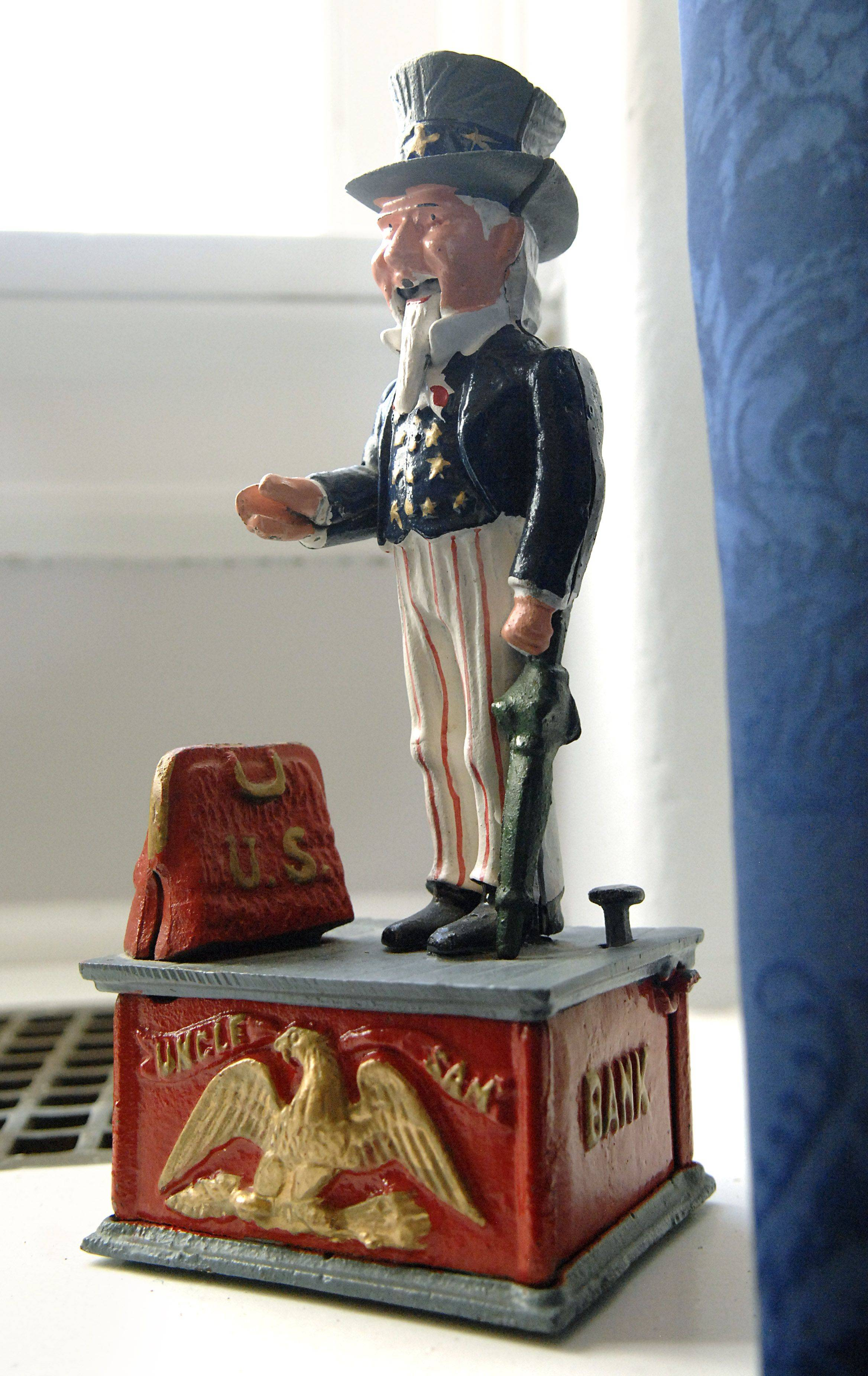 An Uncle Sam bank sits on a window sill in Congressman Joe Walsh's Washington office. He says the bank reminds him of the need to be fiscally responsible.