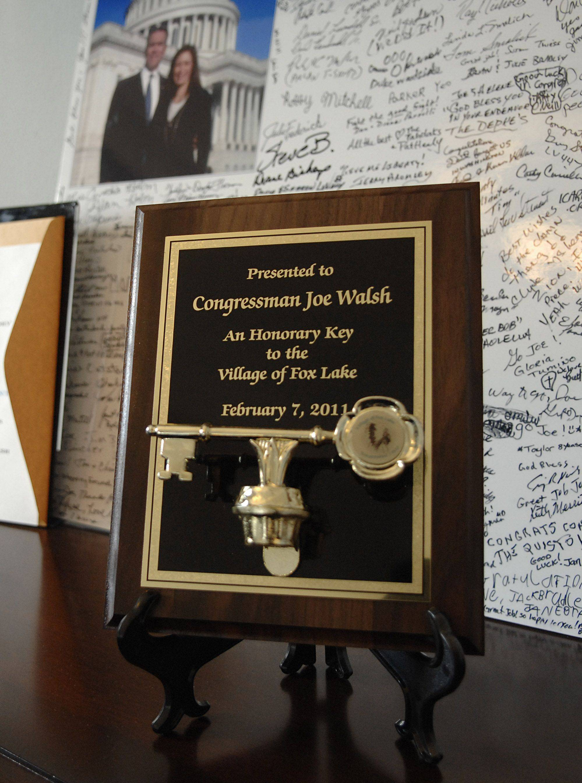 An honorary key from the Village of Fox Lake presented to 8th District Congressman Joe Walsh sits in his office in the Cannon House Office Building in Washington, D.C. Walsh says every time he heads home he acquires a new item from his district for his office.