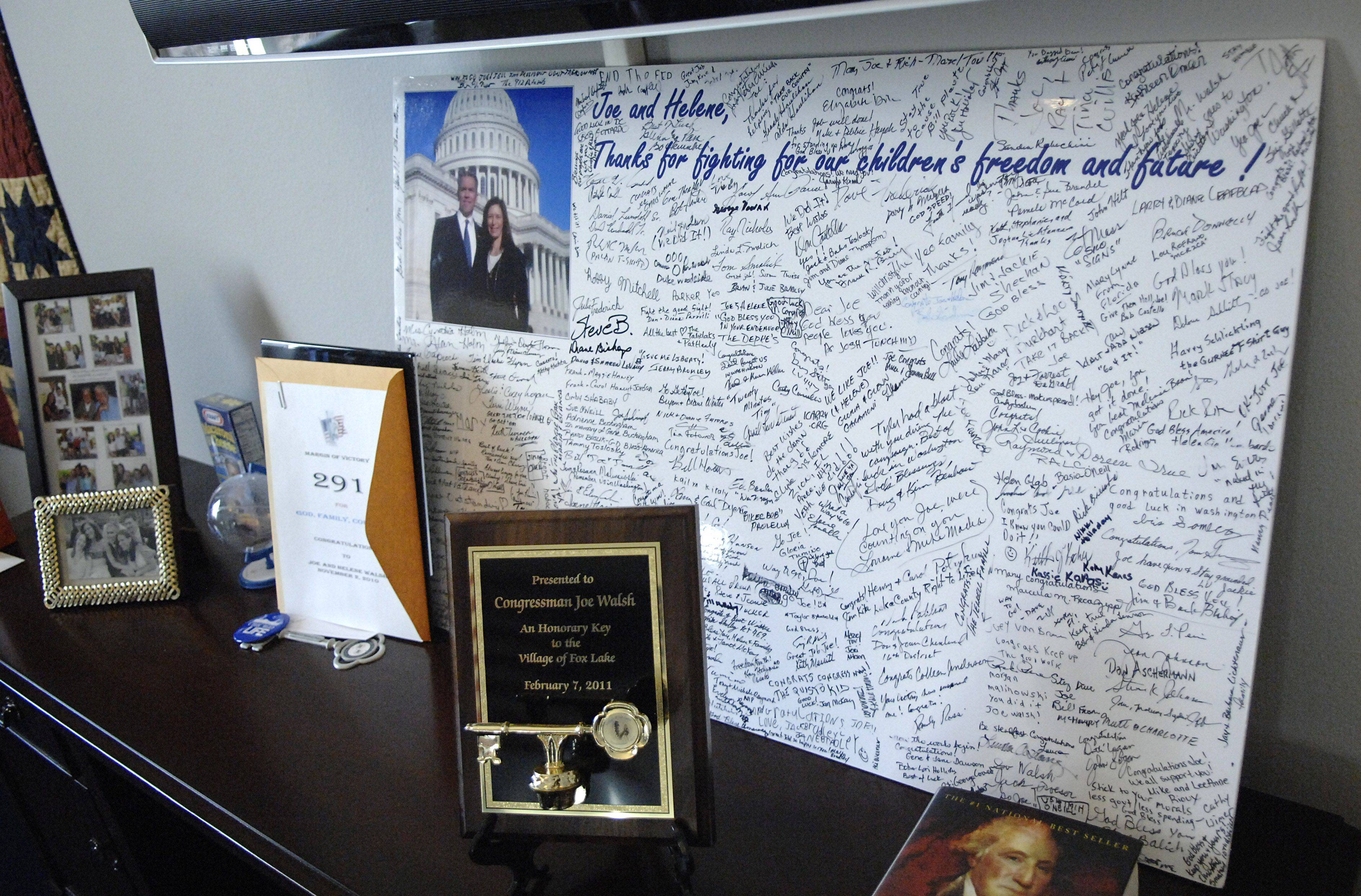 A poster board full of signatures from well wishers to 8th District Congressman Joe Walsh sits in his office in Washington, D.C.