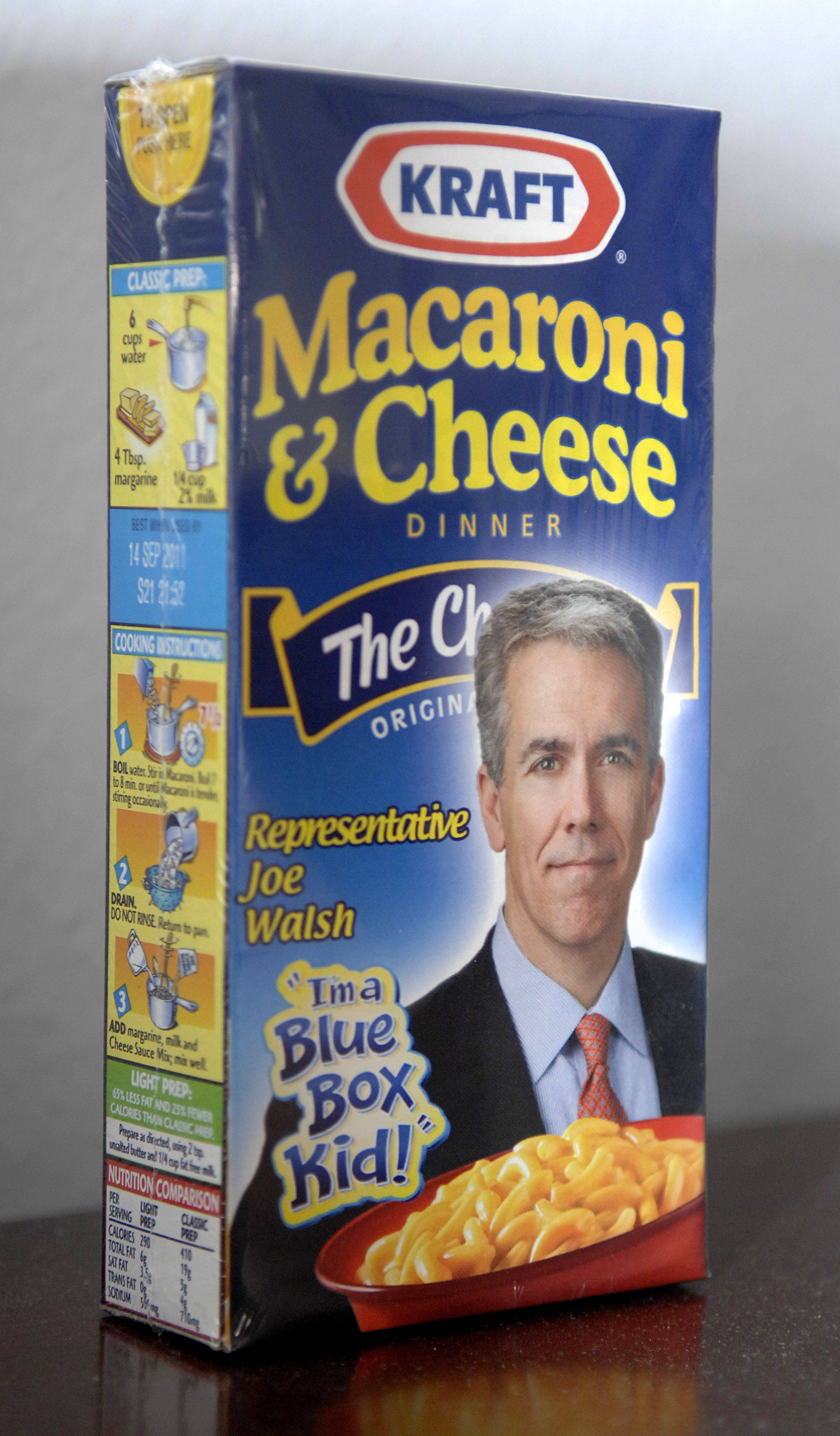 A box of Kraft Macaroni & Cheese was given to 10th District Congressman Robert Dold sits on a cabinet in his Cannon House office in Washington D.C.