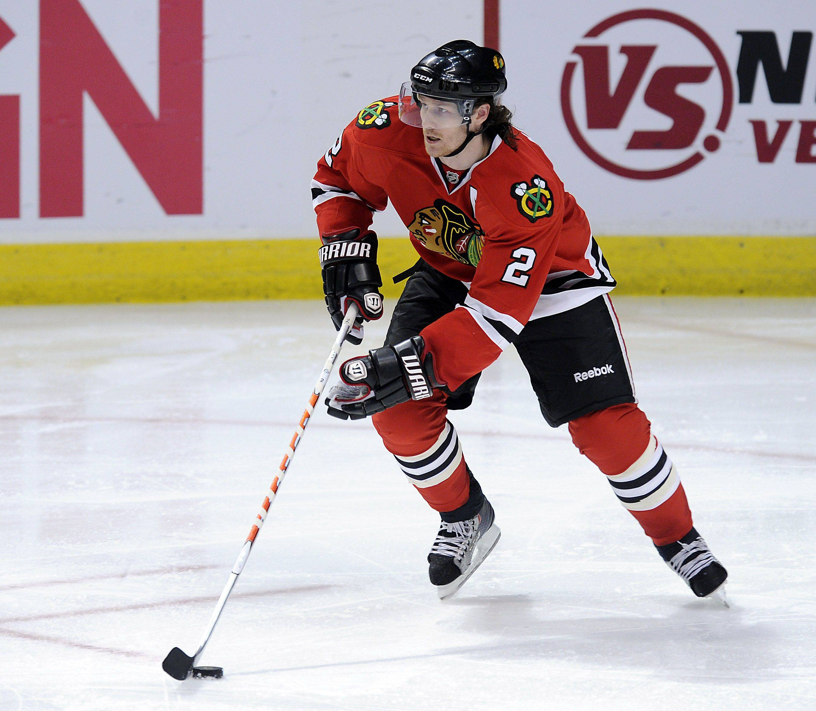 Duncan Keith goes on the move as he tries to score in the third period.