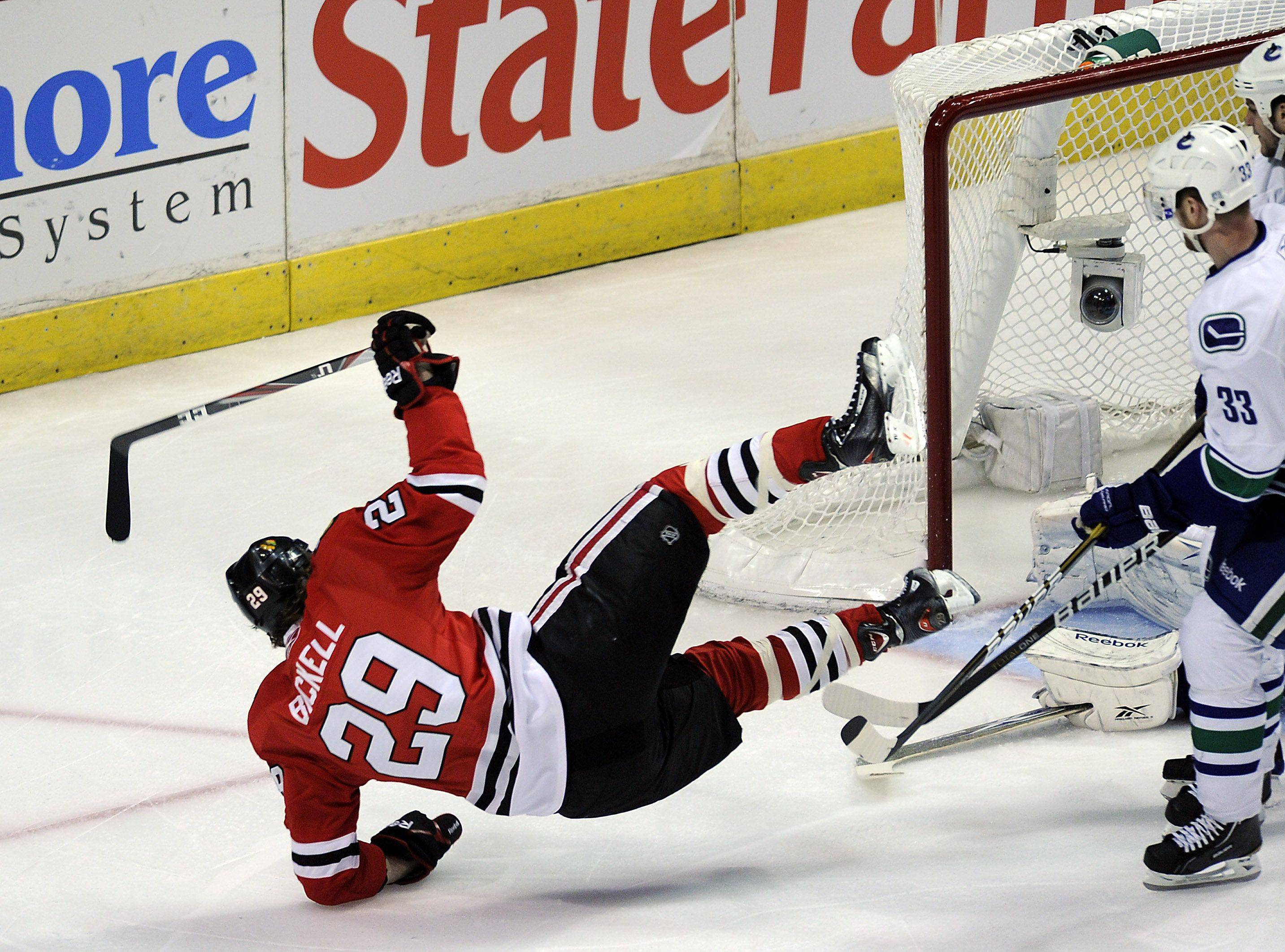 Bryan Bickell goes airborne after scoring in the first period.