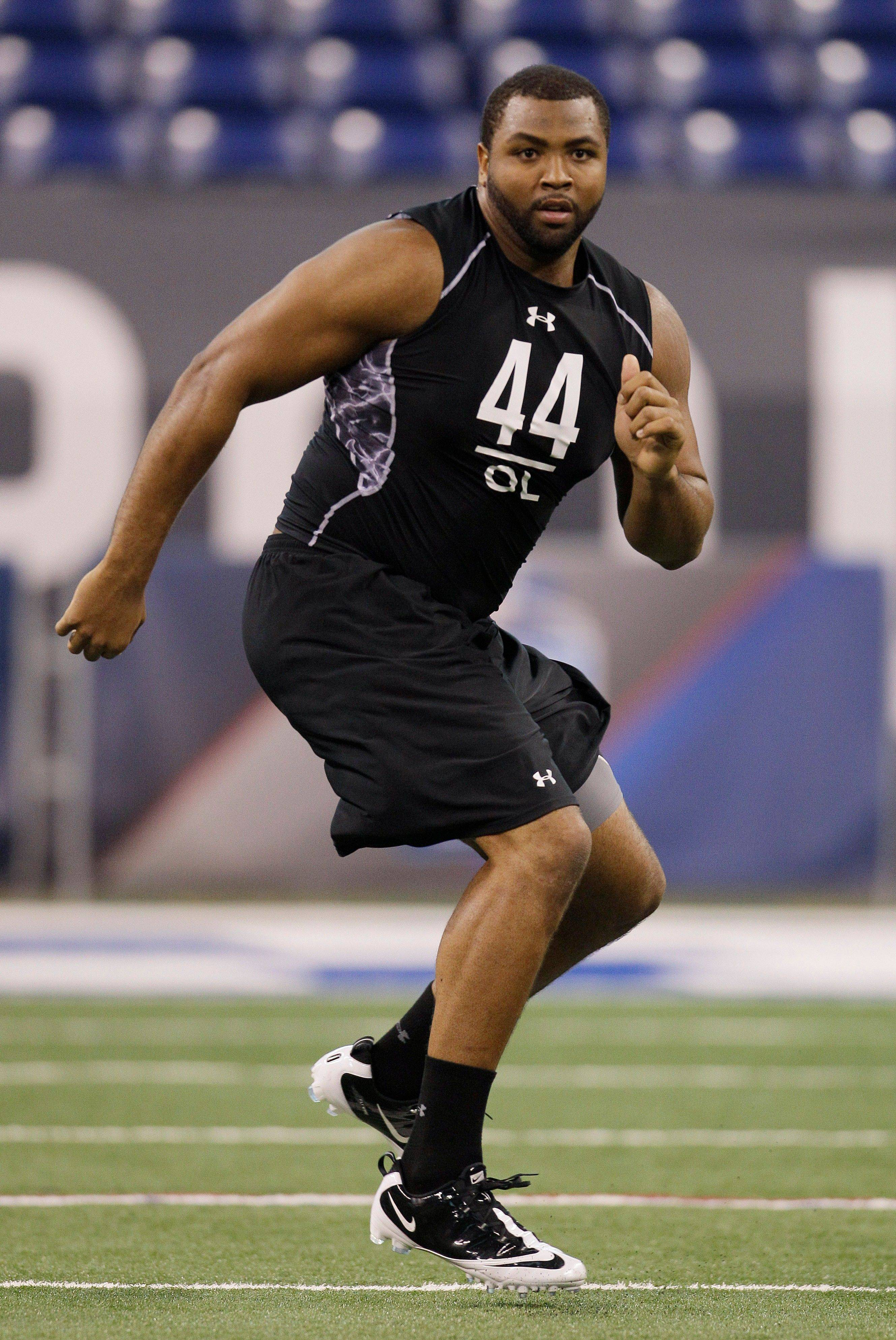 Mississippi State offensive lineman Derek Sherrod runs a drill during the NFL football scouting combine in Indianapolis, Saturday, Feb. 26, 2011.