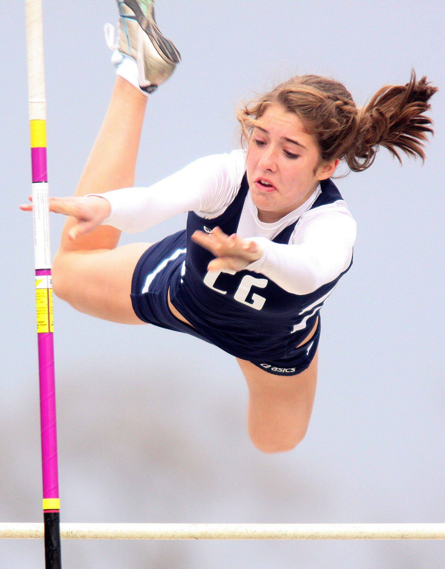 Cary-Grove's Emily Scott clears 6 feet, 6 inches in the pole vault during the McHenry County Track and Field Meet at Metcalf Field on the campus of Crystal Lake Central on Wednesday evening.
