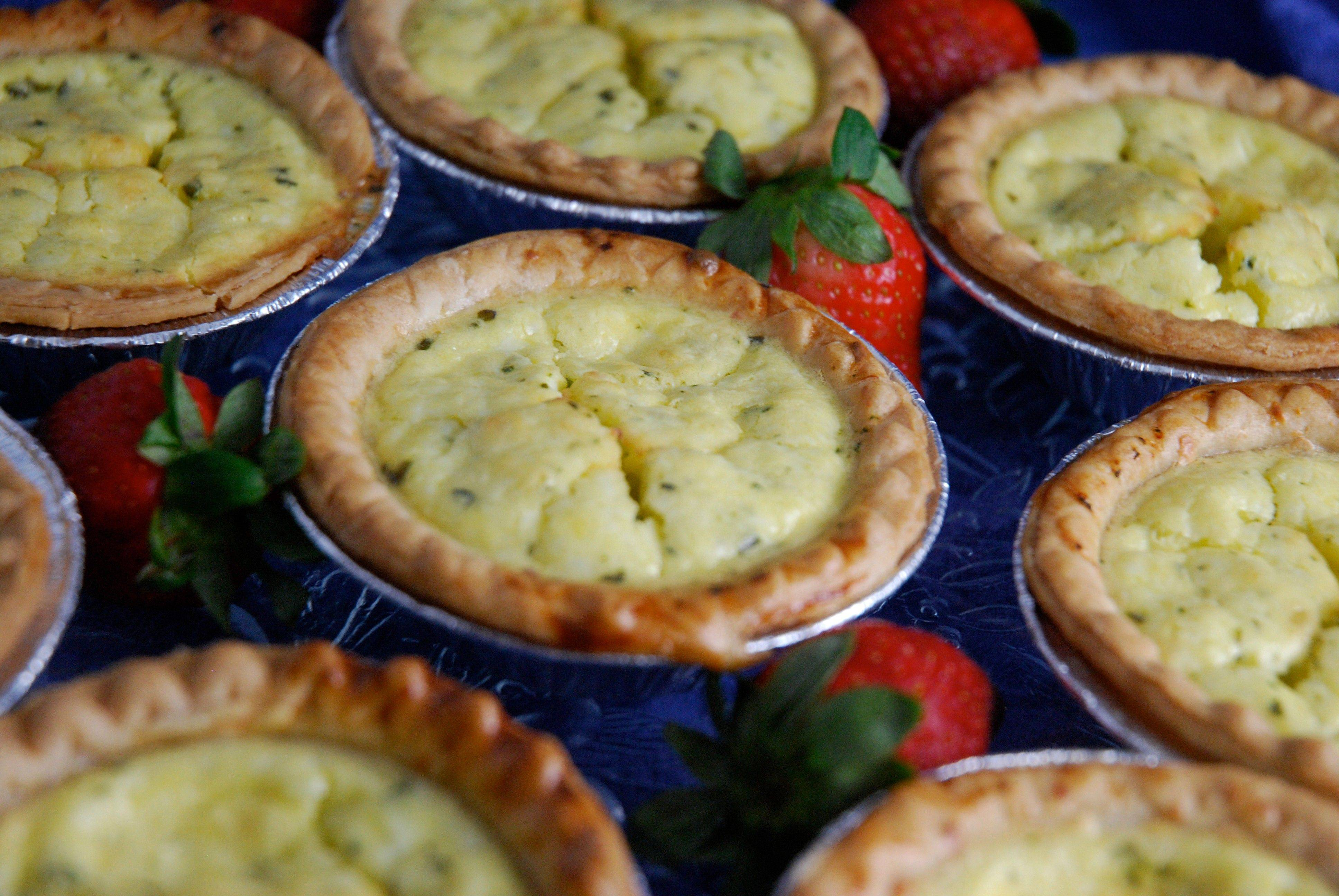 Individual-sized pie shells are the perfect size for personal quiches serves at a spring brunch.
