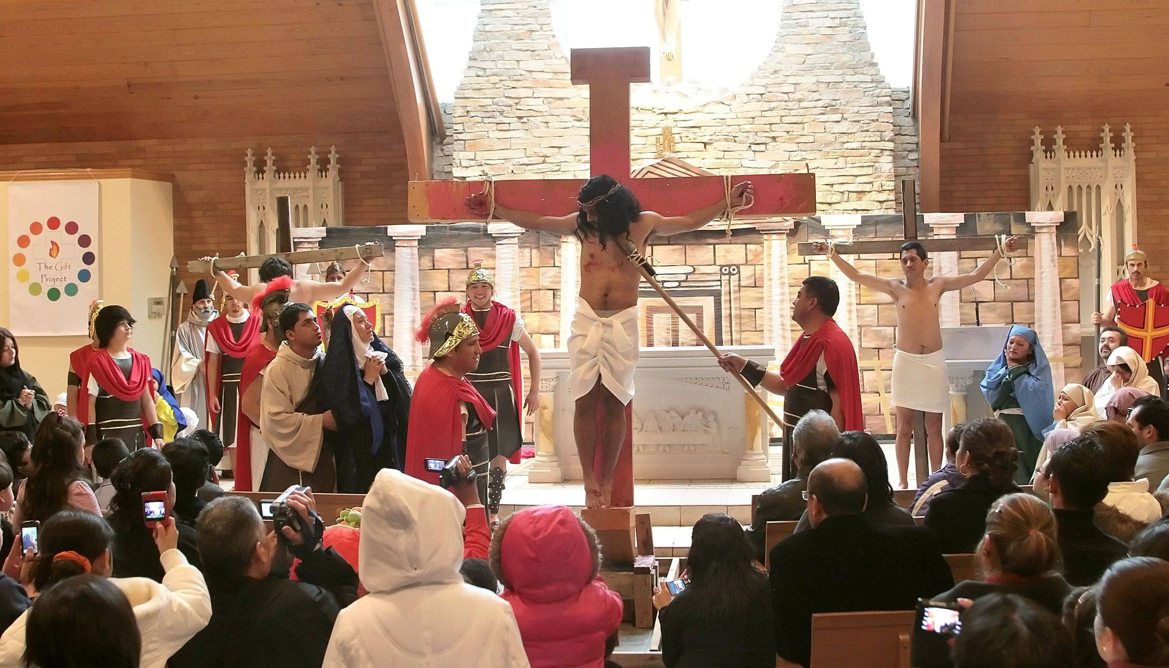 The parishioners of Most Blessed Trinity Parish in Waukegan held a Living Stations of the Cross for Good Friday.