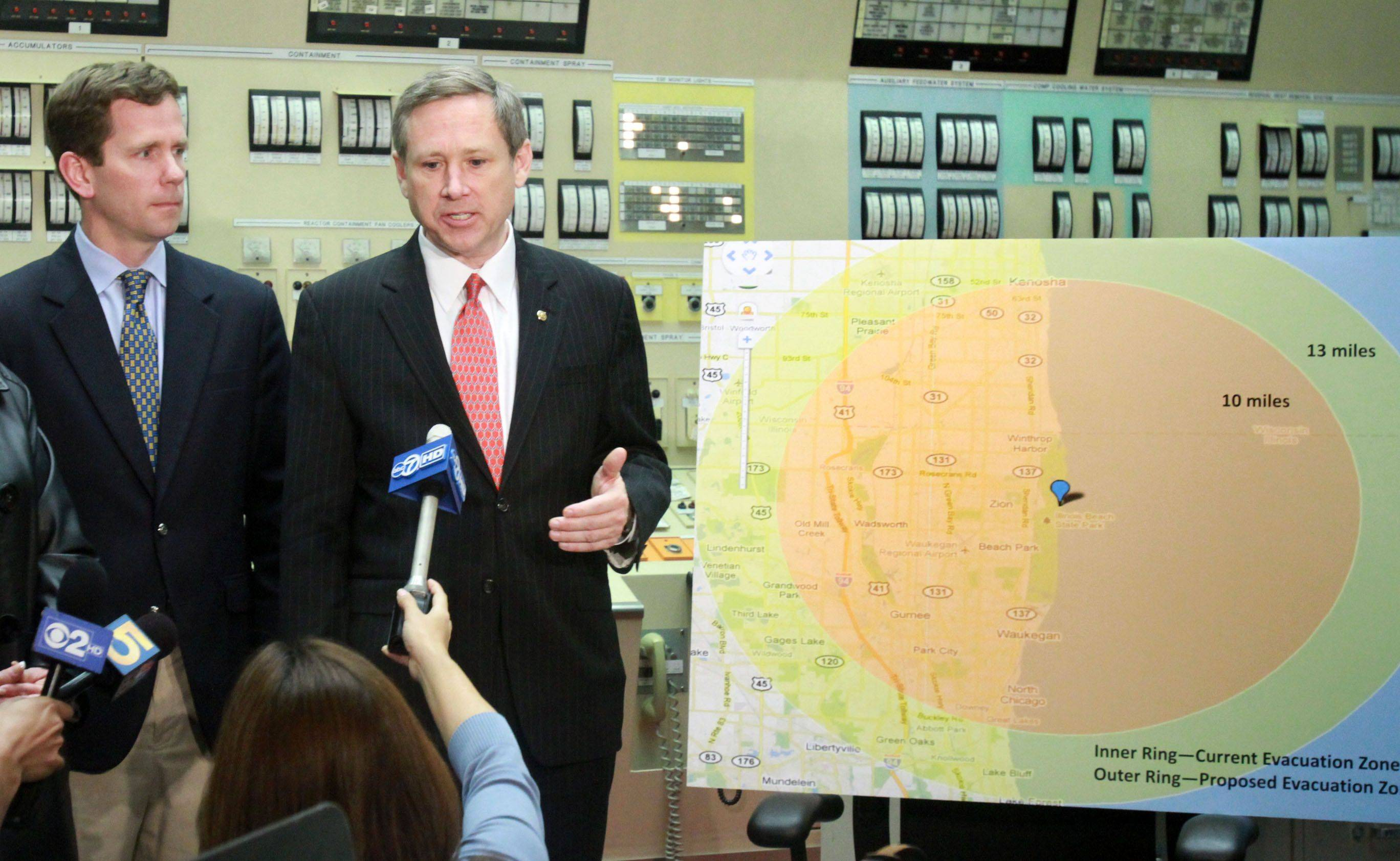 George LeClaire/gleclaire@dailyherald.comU.S. Senator Mark Kirk express concerns about how close the Zion Nuclear Power Plant is to Lake Michigan while speaking to the press in the control room with U.S. Representative Robert Dold on the left, during a tour of the closed plant on Saturday, April 23. The plant currently is used to cool the spent nuclear fuel.