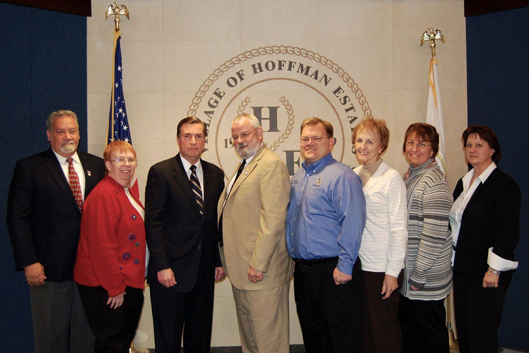 The Hoffman Estates village board in a December 2010 photo, from left: Trustee Raymond Kincaid; Trustee Karen Mills; Trustee Gary Stanton; Mayor William McLeod; Trustee Gary Pilafas; Trustee Jacquelyn Green; Trustee Anna Newell and Clerk Bev Romanoff.
