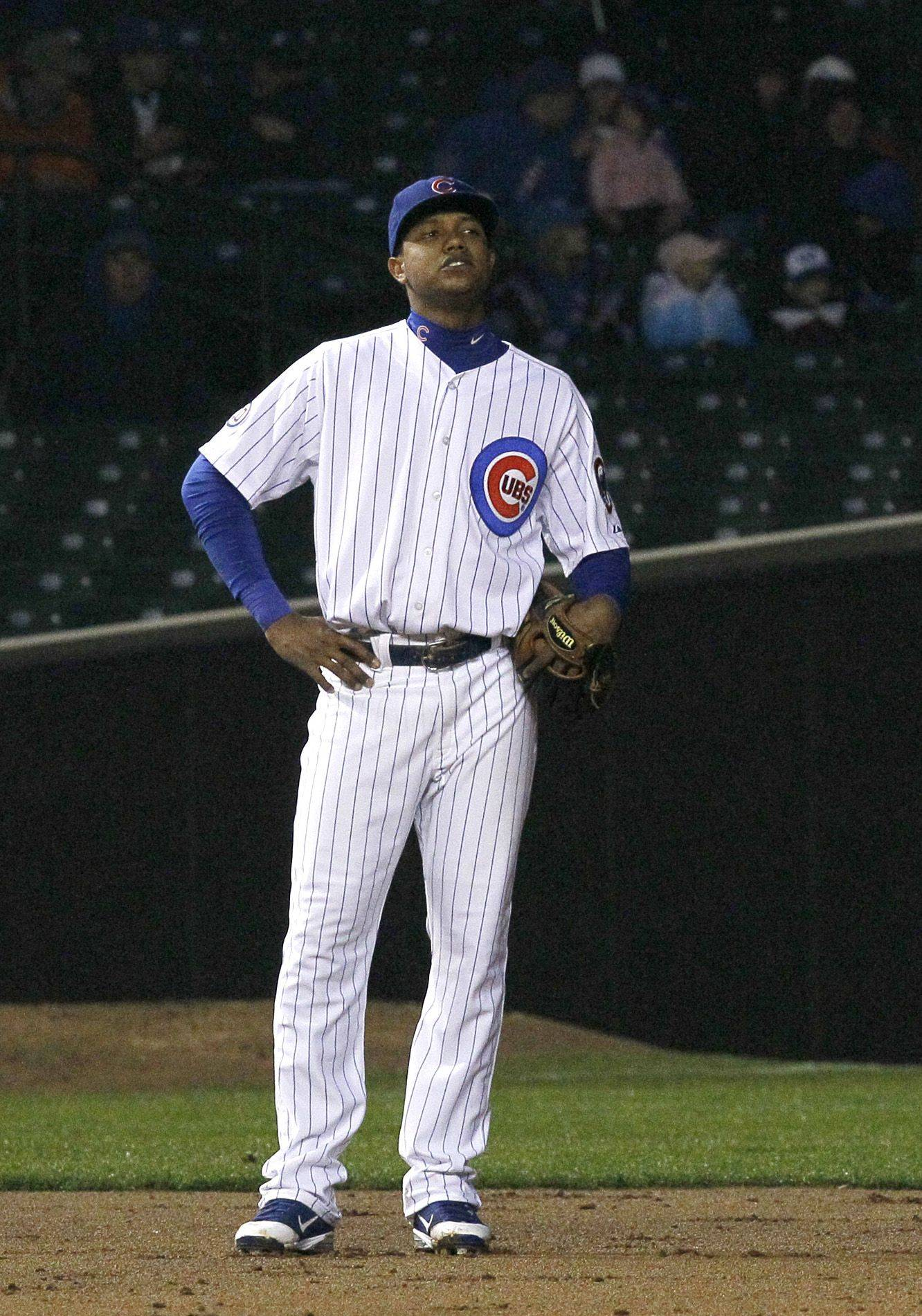 Cubs shortstop Starlin Castro looks up at the scoreboard after committing his third of three errors in Monday's second inning at Wrigley Field.