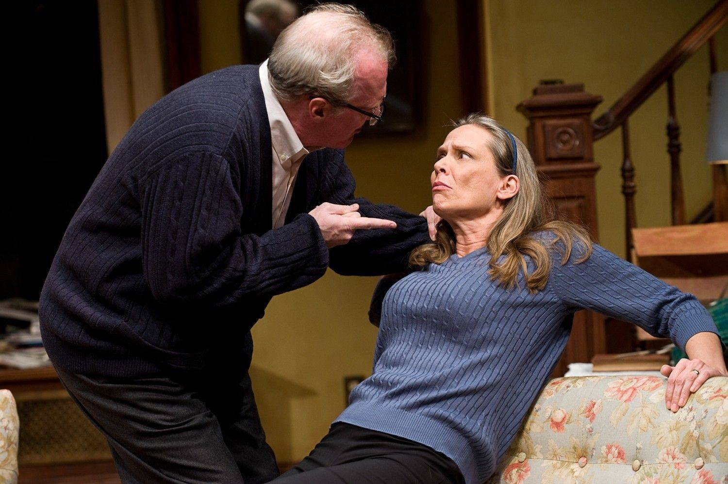 "Tracy Letts, left, and Amy Morton will reprise their roles as embattled spouses George and Martha in the remount of Steppenwolf Theatre's ""Who's Afraid of Virginia Woolf?"" opening on Broadway in October 2012."