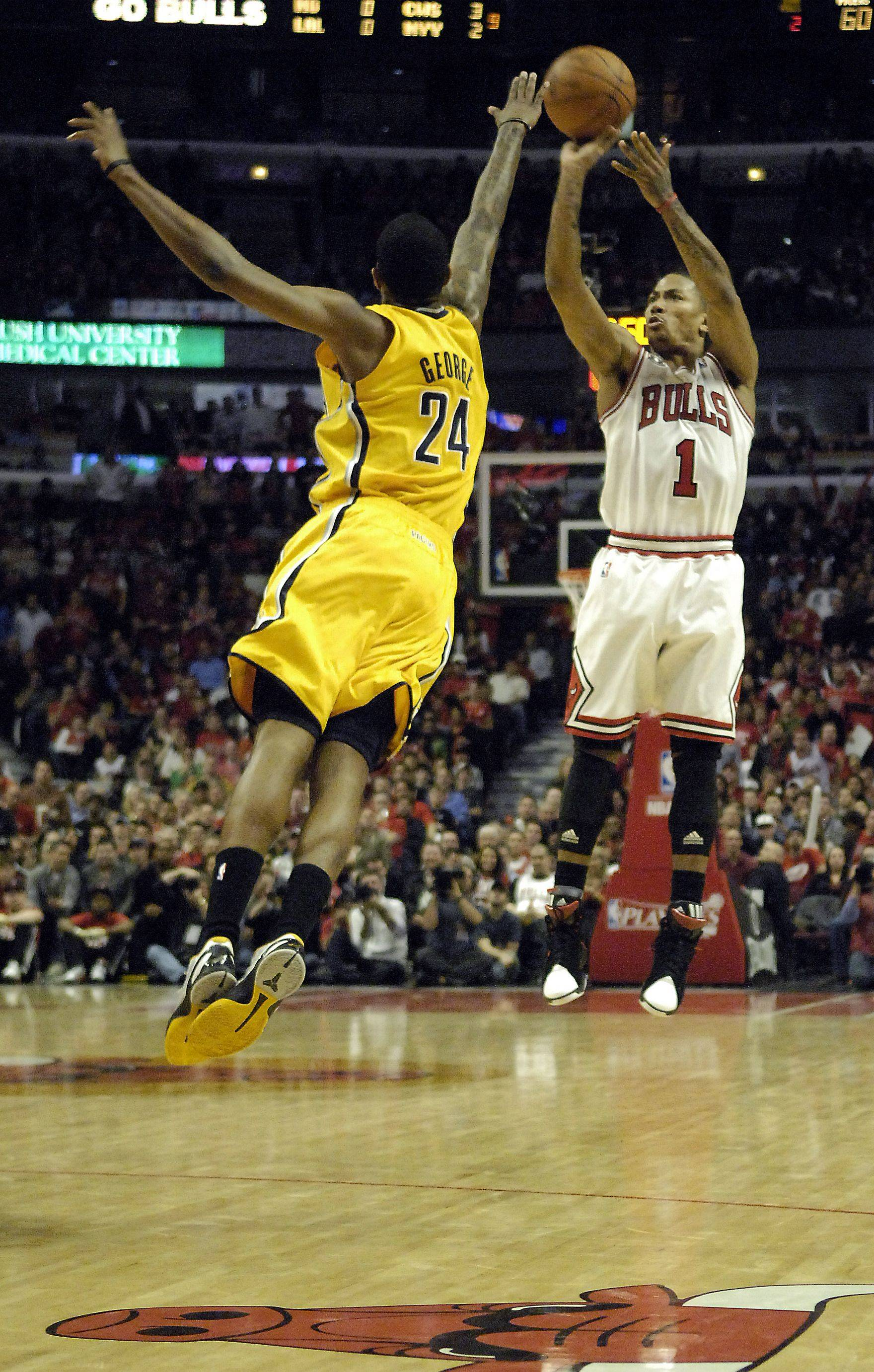 Derrick Rose drains a 3-point shot in the third quarter to stop an Indiana comeback. In a third-quarter flurry Rose blocked a dunk attempt and hit three 3-point shots Tuesday night against the Pacers at the United Center.
