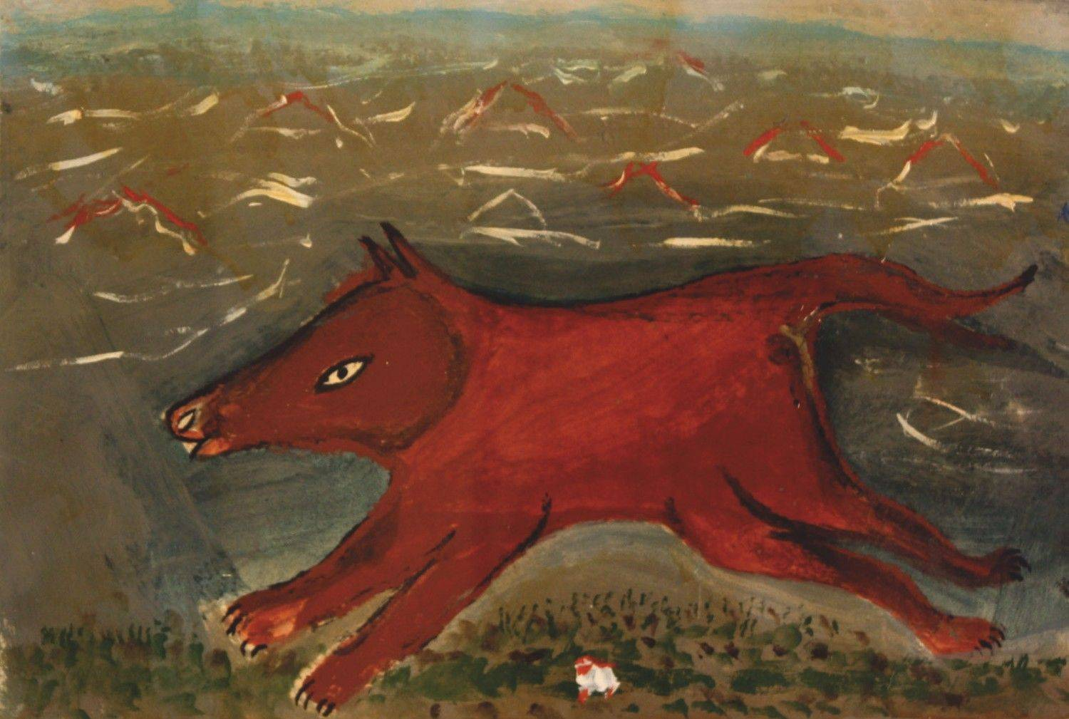 "William Dawson, ""Red Fox,"" 1981, acrylic on paper"