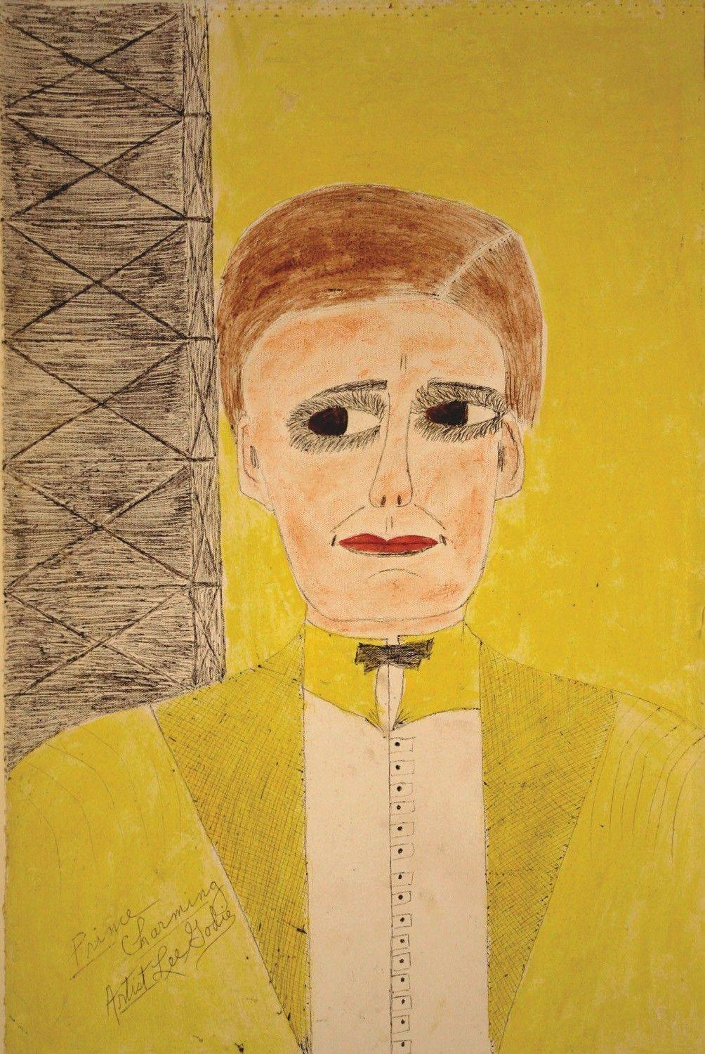 "Lee Godie, ""Prince Charming,"" c. 1980s, paint and ballpoint pen on canvas"