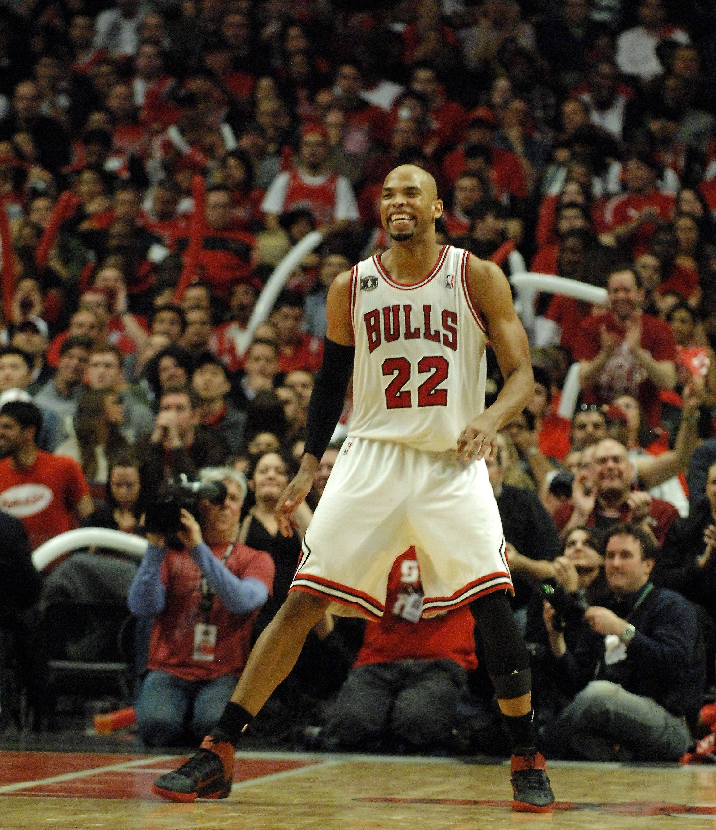 Chicago Bulls forward Taj Gibson is all smiles in the fourth quarter.