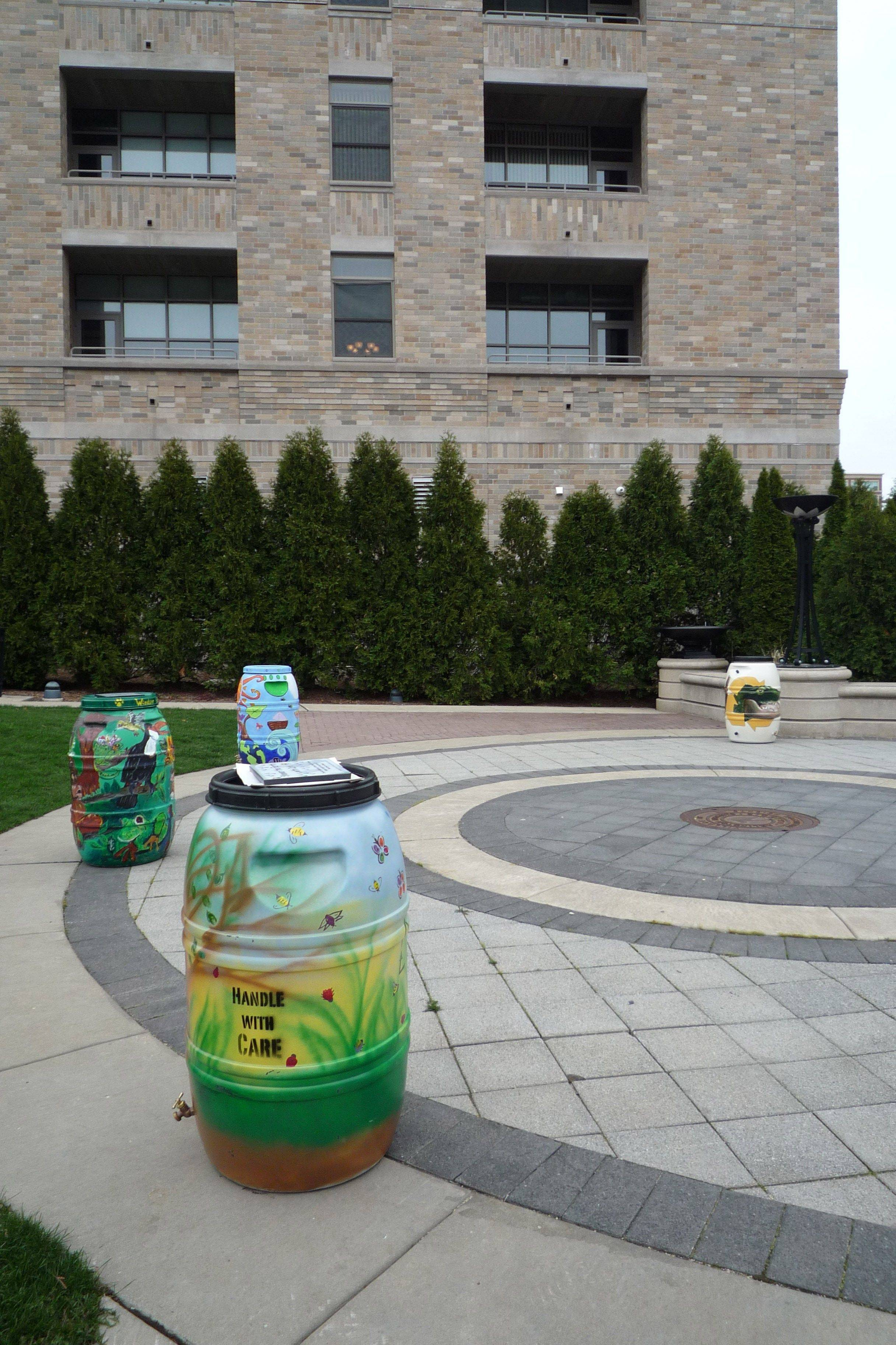 Rain Barrels on Parade were part of Earth Day awareness in downtown Arlington Heights. The barrels were created by students in Arlington Heights Elementary District 25 ecology clubs.